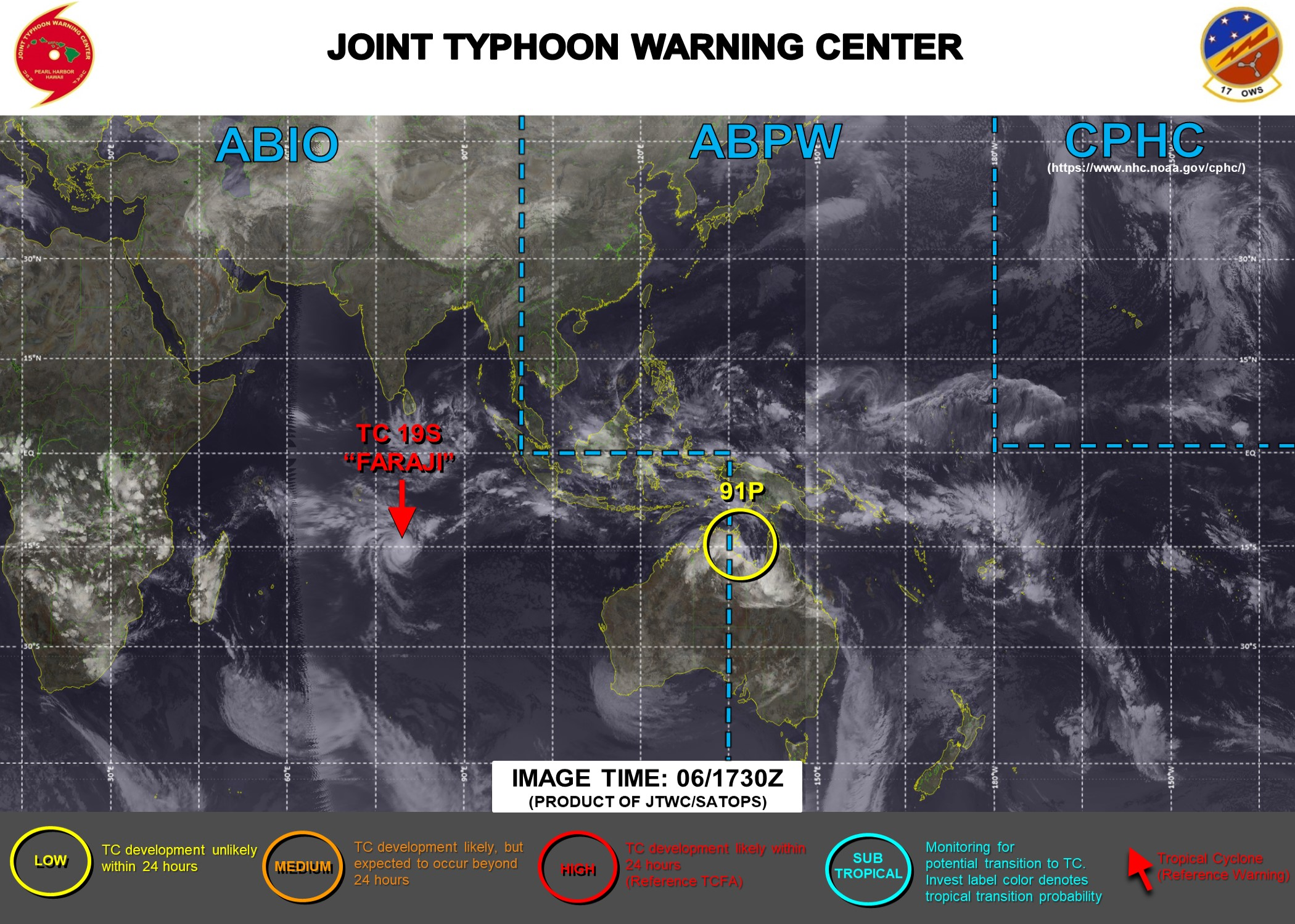 06/1830UTC. JTWC IS ISSUING 12HOURLY WARNINGS ON 19S(FARAJI). 3 HOURLY SATELLITE BULLETINS ARE PROVIDED FOR 19S AND INVEST 91P WHICH HAS RECENTLY MOVED OVER-LAND. THEY WERE DISCONTINUED FOR THE REMNANTS OF 18S AT 06/1420UTC.