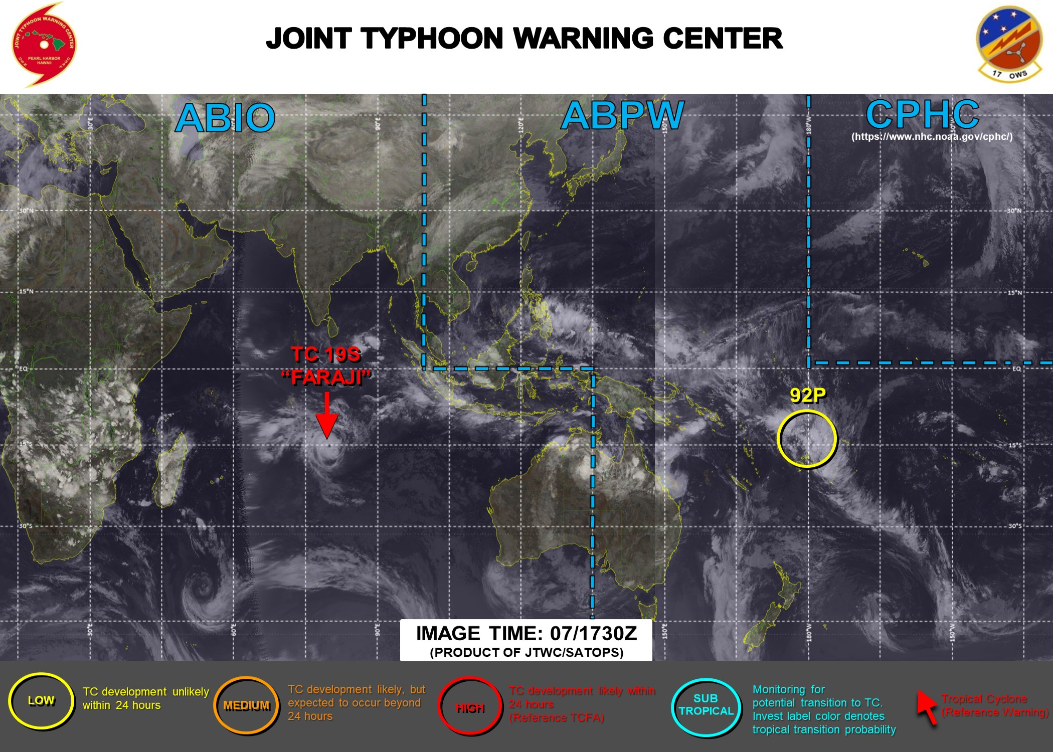 JTWC IS ISSUING 12HOURLY WARNINGS ON TC 19S(FARAJI). 3HOURLY SATELLITE BULLETINS ARE PROVIDED FOR 19S. INVEST 92P IS UNDER WATCH.