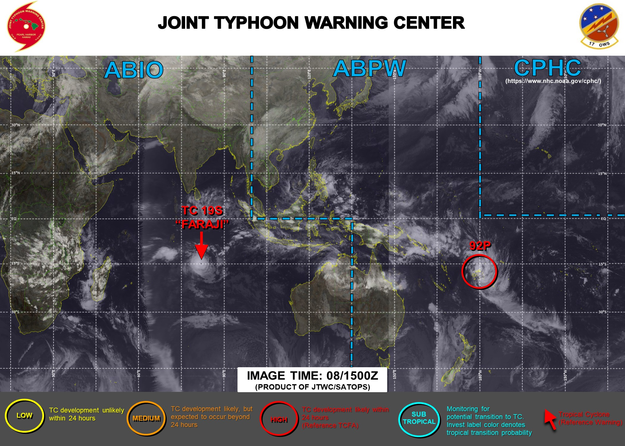 08/15UTC. JTWC IS ISSUING 12HOURLY WARNINGS ON TC 19S(FARAJI). INVEST 92P IS UP-GRADED TO HIGH. 3HOURLY SATELLITE BULLETINS ARE PROVIDED FOR 19S AND 92P.