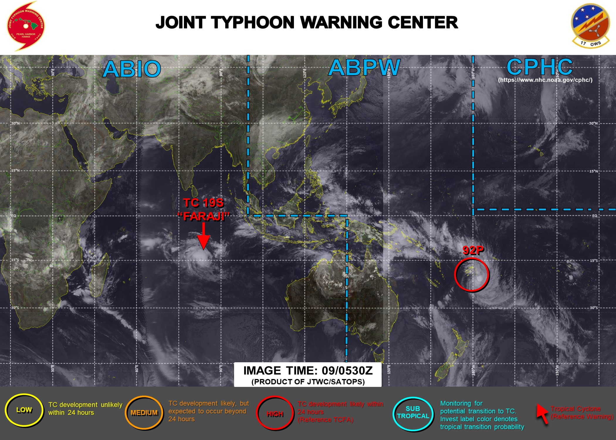 09/06UTC. JTWC HAS BEEN ISSUING 12HOURLY WARNINGS ON 19S(FARAJI). INVEST 92S IS STILL HIGH. 3HOURLY SATELLITE BULLETINS ARE PROVIDED FOR BOTH 19S AND 92P.