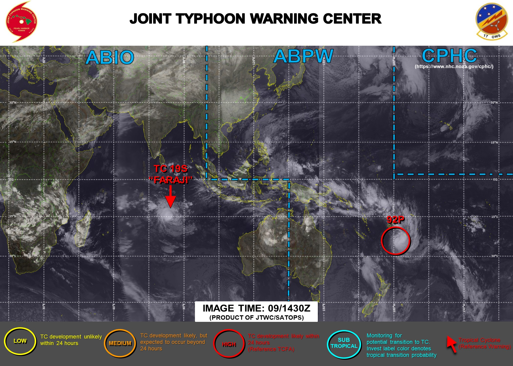 09/02 1730UTC. JTWC HAS BEEN ISSUING 12HOURLY WARNINGS ON 19S(FARAJI). INVEST 92P IS STILL HIGH. 3HOURLY SATELLITE BULLETINS ARE PROVIDED FOR BOTH 19S AND 92P.