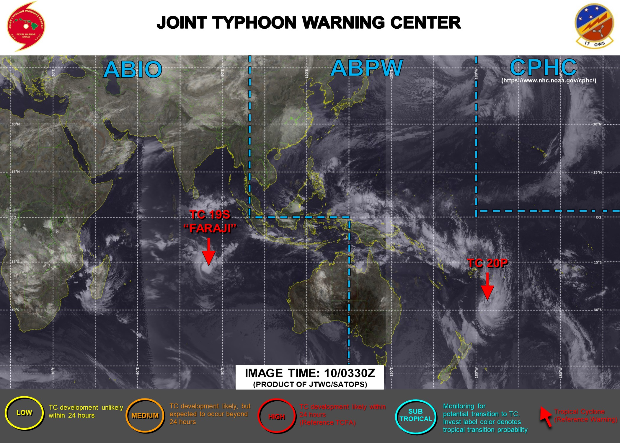 10/0330UTC. JTWC IS ISSUING 12HOURLY WARNINGS ON 19S(FARAJI). WARNING 1 HAS BEEN ISSUED FOR 20P FOLLOWED BY 6HOURLY WARNINGS. 3 HOURLY SATELLITE BULLETINS ARE PROVIDED FOR BOTH 19S AND 20P.