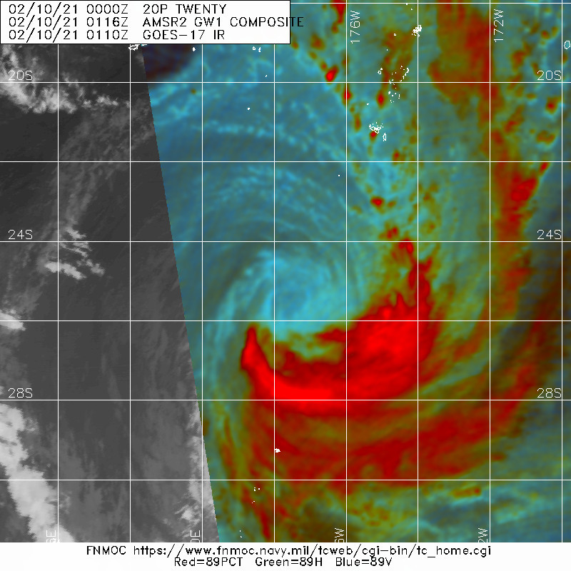 20P(TWENTY). 10/0116UTC. SATELLITE AND MICROWAVE DATA SHOW CONVECTIVE BANDING WRAPPING INTO A  PARTIALLY EXPOSED LOW LEVEL CIRCULATION WITH THE ASSOCIATED DEEP  CONVECTION BEING SHEARED OVER THE EASTERN SEMICIRCLE.