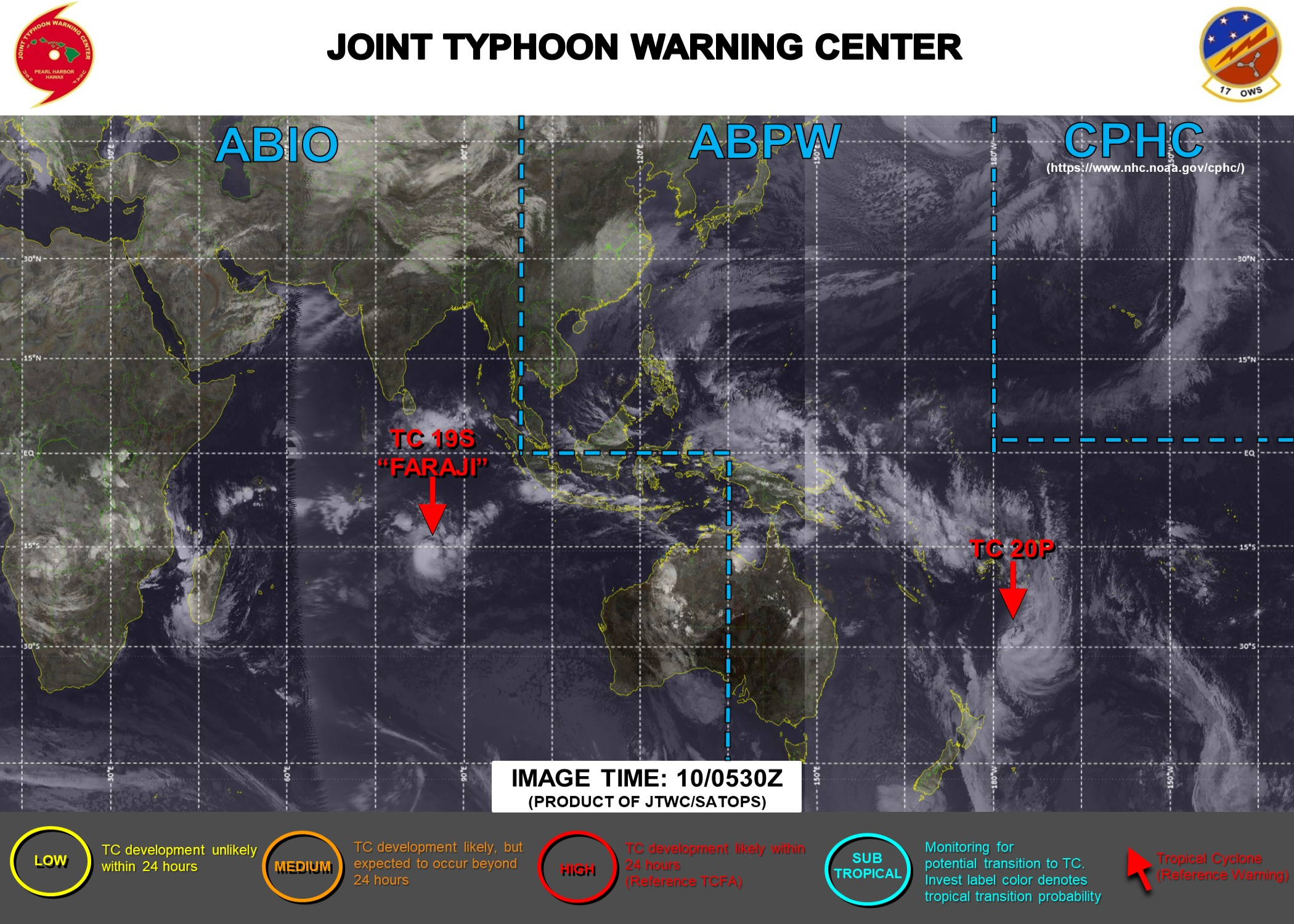 10/15UTC. JTWC IS ISSUING 12HOURLY WARNINGS ON 19S(FARAJI). WARNING 3 /FINAL WAS ISSUED FOR 20P AS THE SYSTEM IS COMPLETING EXTRATROPICAL TRANSITION .3 HOURLY SATELLITE BULLETINS ARE PROVIDED FOR BOTH 19S AND 20P.