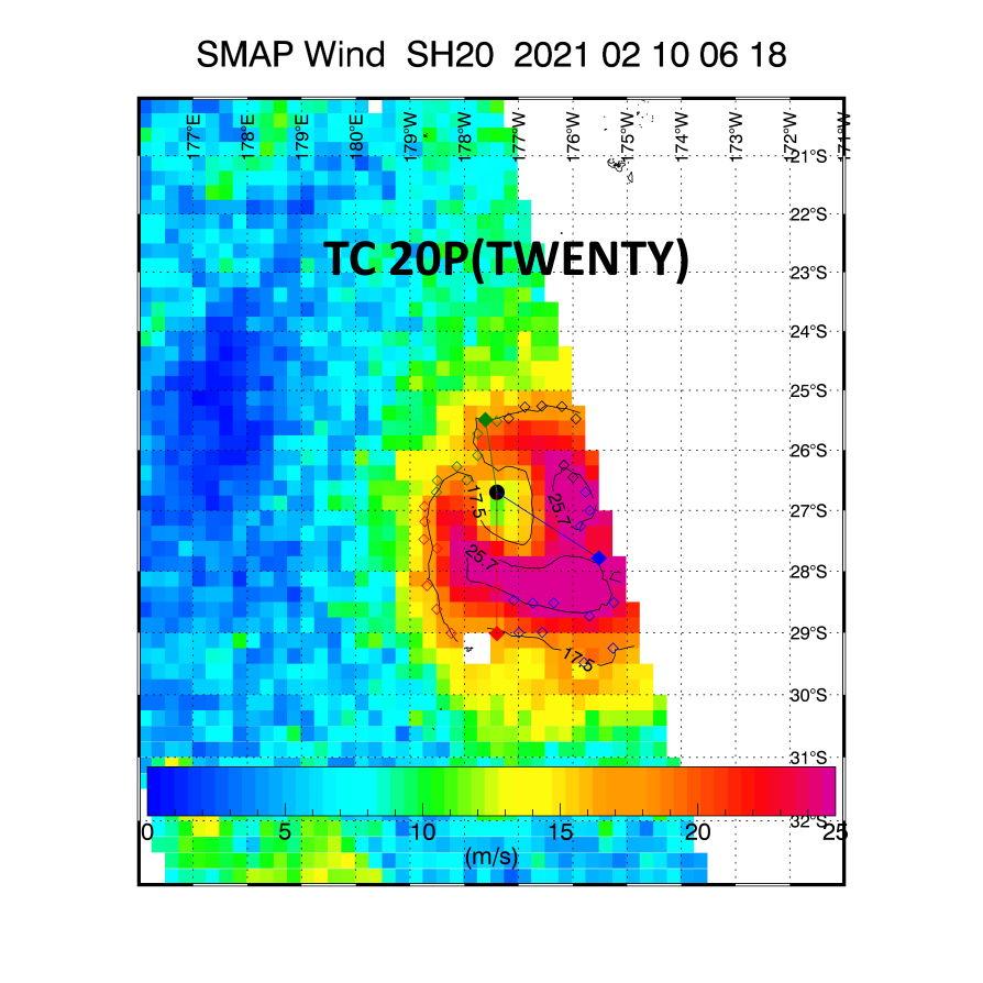 20P(TWENTY). 10/0618UTC. SMAP READ 56KNOTS WINDS(10MINUTES) WELL ABOVE JTWC INTENSITY ESTIMATE.