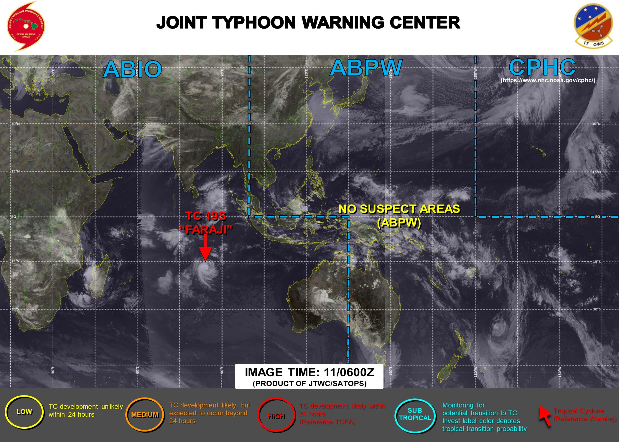 JTWC IS ISSUING 12HOURLY WARNINGS ON 19S(FARAJI). 3HOURLY SATELLITE BULLETINS ARE ISSUED FOR 19S. THEY WERE DISCONTINUED FOR 20P AT 10/1740UTC.