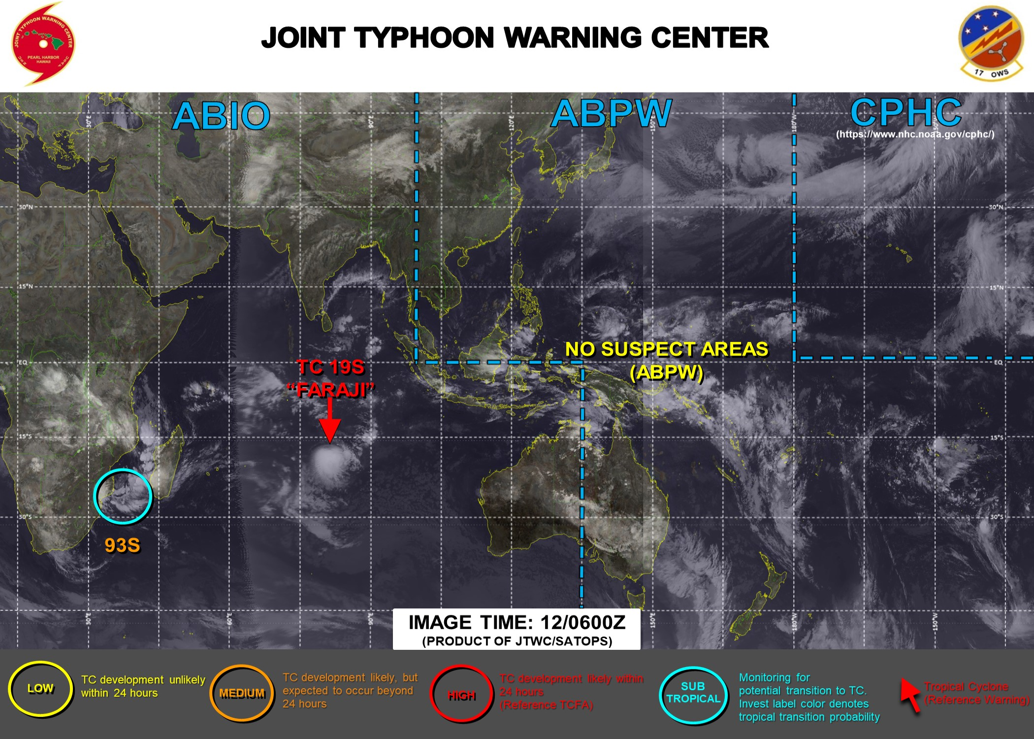 12/06UTC. JTWC IS ISSUING 12HOURLY WARNINGS ON 19S(FARAJI). 3HOURLY SATELLITE BULLETINS ARE ISSUED FOR 19S AND FOR INVEST 93S.