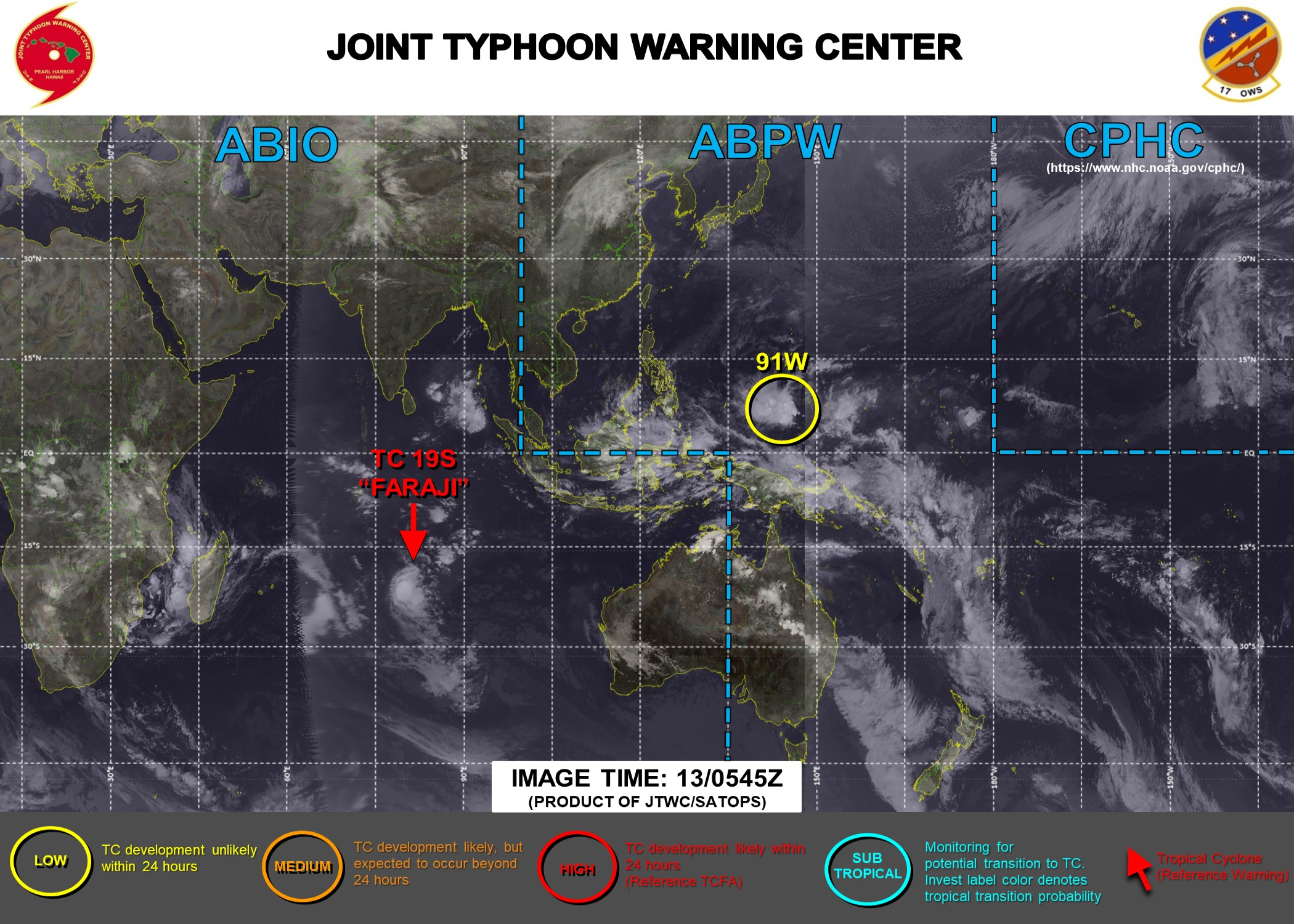 13/06UTC. INVEST 91W IS NOW ON THE MAP WITH AND IS LOW FOR THE NEXT 24HOURS. JTWC IS ISSUING 12HOURLY WARNINGS ON 19S. 3 HOURLY SATELLITE BULLETINS ARE ISSUED FOR 19S AND 93S( MOZ CHANNEL).