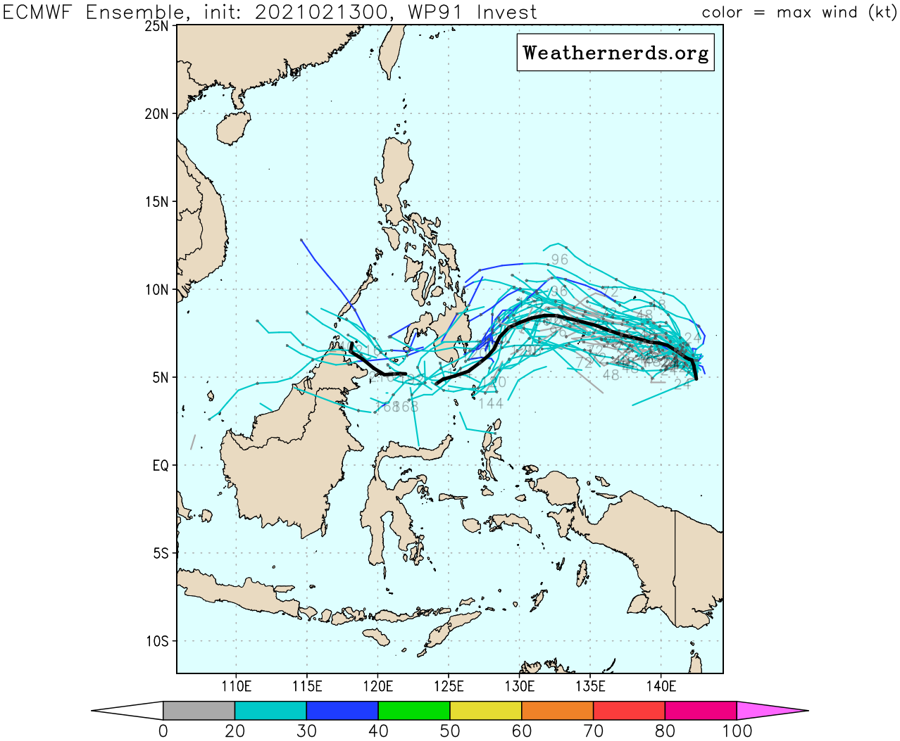 INVEST 91W. UPPER LEVEL ANALYSIS INDICATES INVEST  91W IS IN A FAVORABLE ENVIRONMENT FOR POTENTIAL TROPICAL DEVELOPMENT  WITH GOOD WESTWARD AND NORTHWARD OUTFLOW, LOW (10-15KT) VERTICAL  WIND SHEAR, AND WARM (29-30C) SEA SURFACE TEMPERATURES. GLOBAL  MODELS ARE IN AGREEMENT THAT INVEST 91W WILL TRACK WESTWARD WITH  POSSIBLE CONSOLIDATION OVER THE NEXT 5 DAYS.