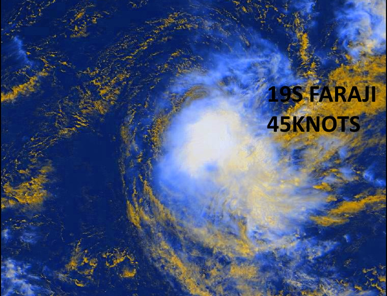 19S(FARAJI). 13/0915UTC. ANIMATED MULTISPECTRAL SATELLITE  IMAGERY (MSI) CONTINUES TO SHOW THE EFFECTS OF PERSISTENT  NORTHWESTERLY SHEAR, WHICH IS DISPLACING FLARING CONVECTION TO THE  SOUTHEAST OF THE PARTIALLY EXPOSED LOW LEVEL CIRCULATION CENTER (LLCC).