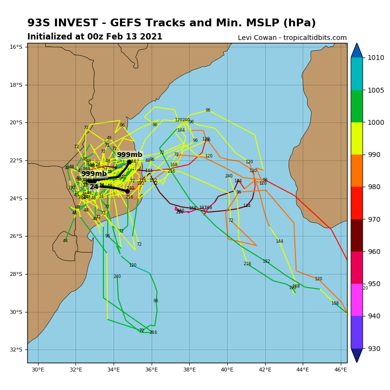 INVEST 93S. NUMERICAL MODEL GUIDANCE DEPICTS THE SUBTROPICAL SYSTEM OVER-LAND.
