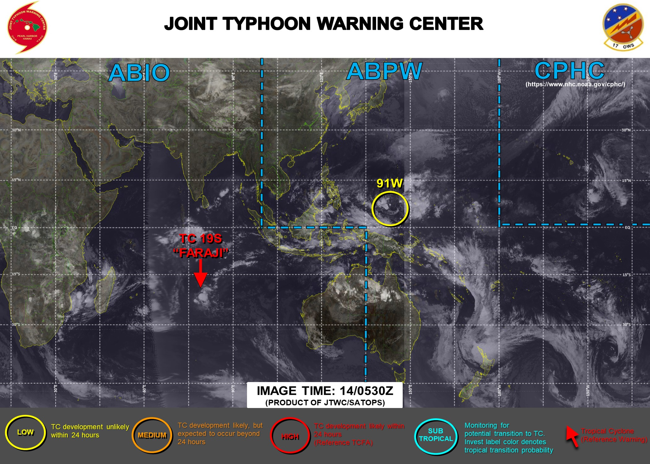 14/06UTC. JTWC HAS ISSUED WARNING 19/FINAL ON 19S(FARAJI). 3 HOURLY SATELLITE BULLETINS ARE ISSUED FOR 19S AND INVEST 93S (MOZAMBIQUE CHANNEL).