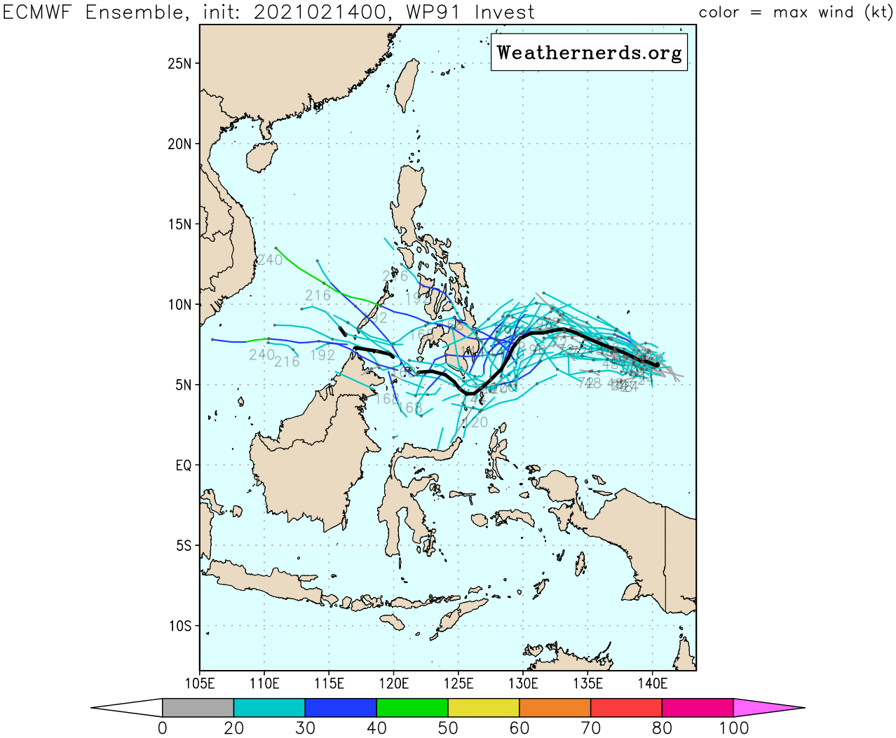 INVEST 91W. UPPER LEVEL ANALYSIS INDICATES INVEST  91W IS IN A MARGINAL ENVIRONMENT FOR POTENTIAL TROPICAL DEVELOPMENT  WITH FAIR NORTHWESTWARD OUTFLOW, MODERATE (15-20KT) VERTICAL WIND  SHEAR, AND WARM (29-30C) SEA SURFACE TEMPERATURES. GLOBAL MODELS ARE  IN AGREEMENT THAT INVEST 91W WILL TRACK WESTWARD WITH POSSIBLE  CONSOLIDATION OVER THE NEXT 5 DAYS.