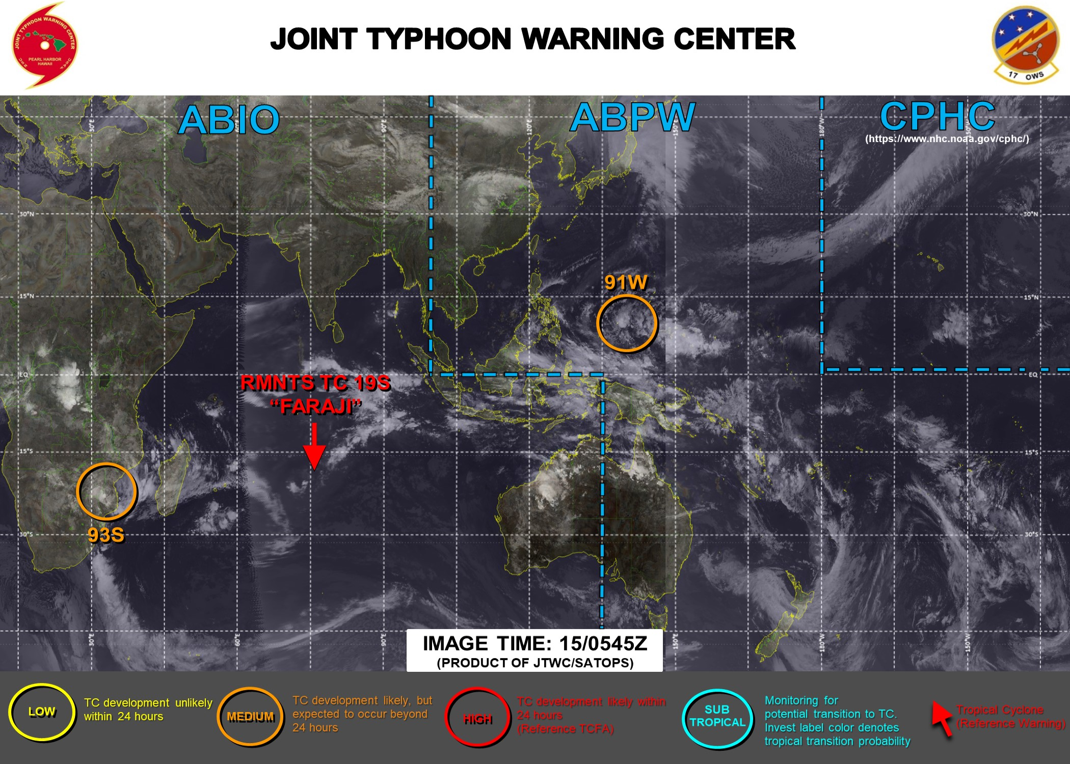 INVEST 91W & INVEST 93S: MEDIUM CHANCES OF DEVELOPMENT NEXT 24HOURS.JTWC IS ISSUING 3 HOURLY SATELLITE BULLETINS ON INVEST 93S AND ON THE REMNANTS OF 19S(FARAJI).