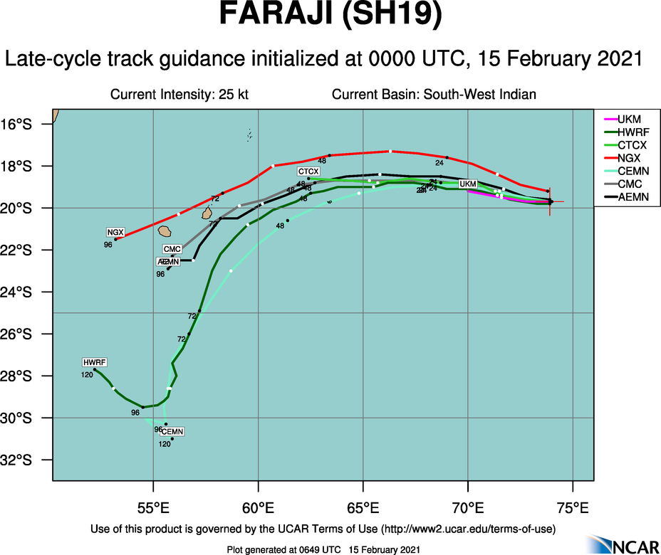 REMNANTS OF 19S(FARAJI). NUMERICAL MODEL GUIDANCE SHOWS THE REMNANTS APPROACHING THE MASCARENE ISLANDS NEXT 48H.