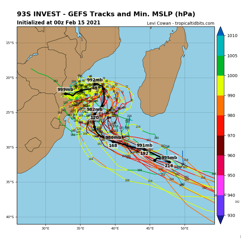 INVEST 93S. AN UPPER LEVEL LOW PREVIOUSLY POSITIONED OVER THE SYSTEM HAS  WEAKENED AND SHIFTED TO THE NORTHWEST ALLOWING POLEWARD OUTFLOW TO  IMPROVE. GLOBAL MODELS INDICATE INVEST 93S WILL TRACK EASTWARD AND  EMERGE OVER WARM WATER (29-30C) IN 36-48 HOURS WITH POLEWARD OUTFLOW  ENHANCED BY THE STRONG UPPER LEVEL WESTERLY FLOW TO THE SOUTH.  CONSEQUENTLY, THE SYSTEM IS EXPECTED TO INTENSIFY QUICKLY OVER THE  MOZAMBIQUE CHANNEL.