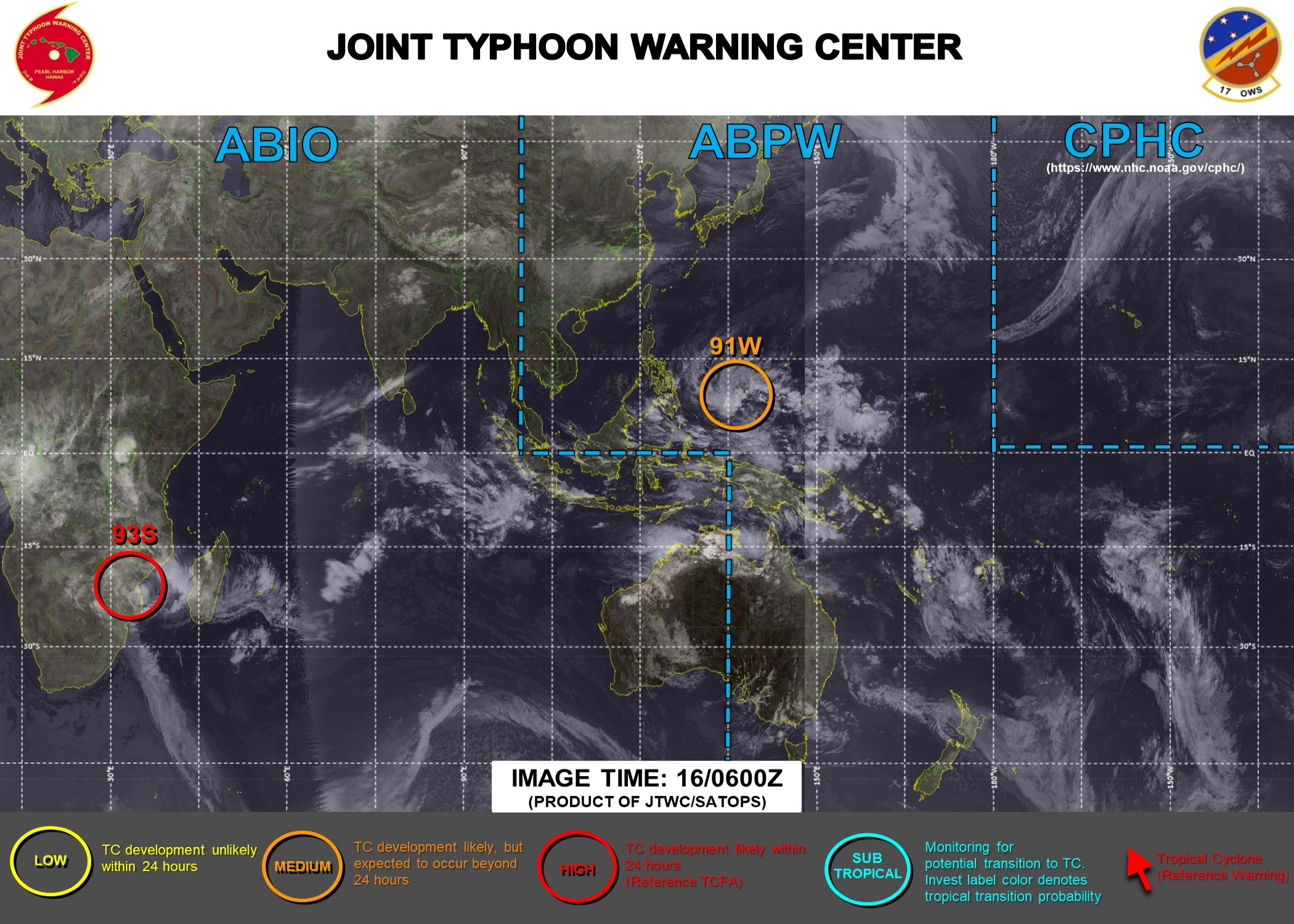 JTWC HAS UP-GRADED INVEST 93S TO HIGH. INVEST 91W IS STILL MEDIUM. 3HOURLY SATELLITE BULLETINS ARE ISSUED FOR INVEST 93S. THEY WERE DISCONTINUED FOR THE REMNANTS OF 19S(FARAJI) AT 15/2045UTC.3 HOURLY SATELLITE BULLETINS ARE NOW ISSUED FOR INVEST 91W FROM 16/1150UTC.