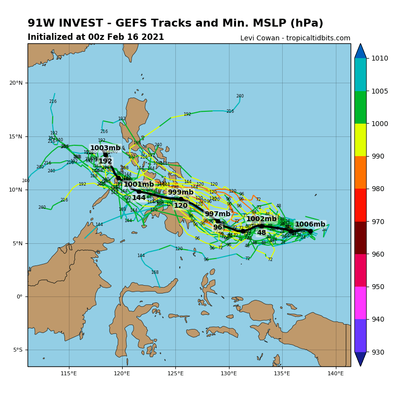 INVEST 91W. UPPER LEVEL ANALYSIS INDICATES  INVEST 91W IS IN A FAVORABLE ENVIRONMENT FOR POTENTIAL TROPICAL  DEVELOPMENT WITH POLEWARD OUTFLOW, LOW TO MODERATE (10-20KT)  VERTICAL WIND SHEAR, AND WARM (29-30C) SEA SURFACE TEMPERATURES.  GLOBAL MODELS ARE IN AGREEMENT THAT INVEST 91W WILL TRACK WEST- NORTHWESTWARD AND STRENGTHEN TO WARNING STATUS (25KNOTS) WITHIN 48 HOURS.