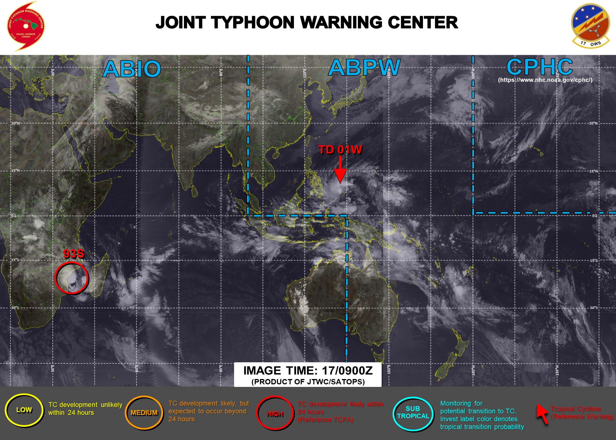 17/09UTC. INVEST 91W IS NOW TD 01W. JTWC IS ISSUING 6 HOURLY WARNINGS ON 01W. INVEST 93S IS STILL HIGH.3 HOURLY SATELLITE BULLETINS ARE ISSUED FOR 01W AND INVEST 93S.