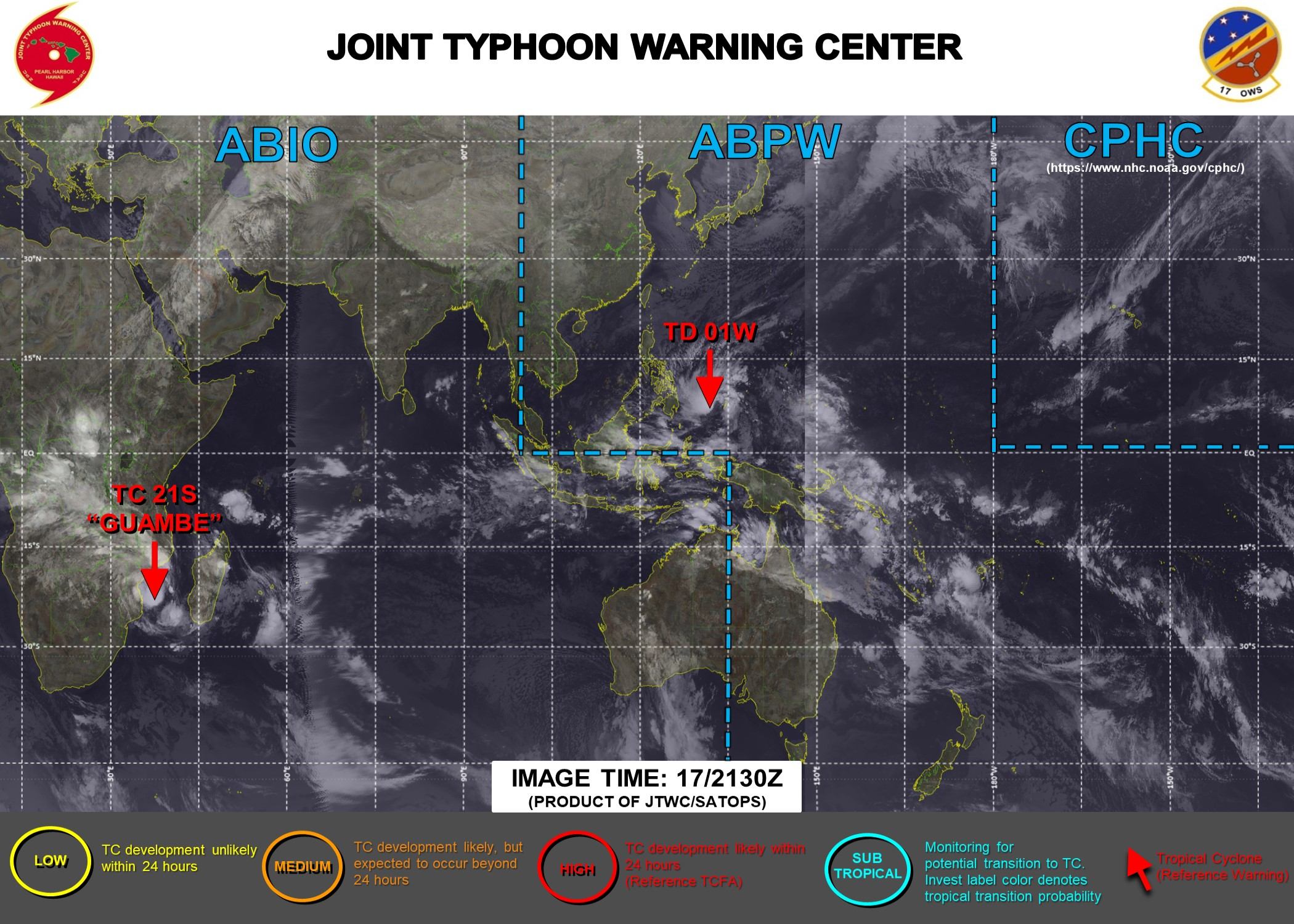 17/2130UTC. JTWC IS ISSUING 6HOURLY WARNINGS ON 01W AND 12HOURLY WARNINGS ON 21S. 3 HOURLY SATELLITE BULLETINS ARE ISSUED FOR BOTH SYSTEMS.