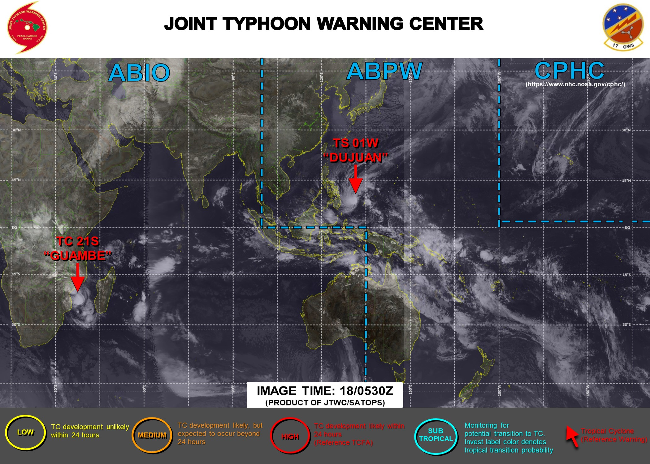 18/06UTC. JTWC IS ISSUING 6HOURLY WARNINGS ON 01W AND 12HOURLY WARNINGS ON 21S. 3 HOURLY SATELLITE BULLETINS ARE ISSUED FOR BOTH SYSTEMS.