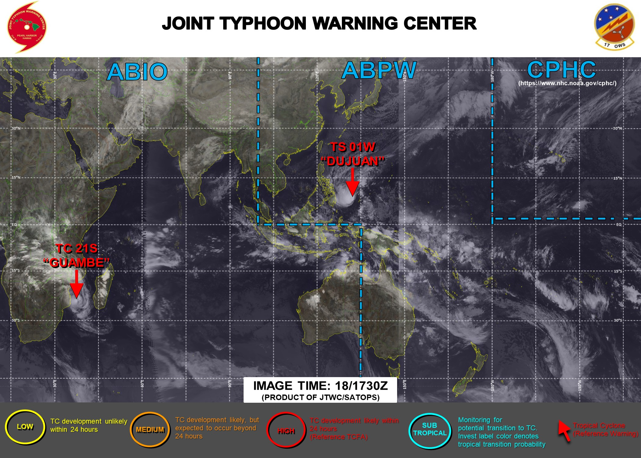19/00UTC. JTWC IS ISSUING 6HOURLY WARNINGS ON 01W AND 12HOURLY WARNINGS ON 21S. 3 HOURLY SATELLITE BULLETINS ARE ISSUED FOR BOTH SYSTEMS.