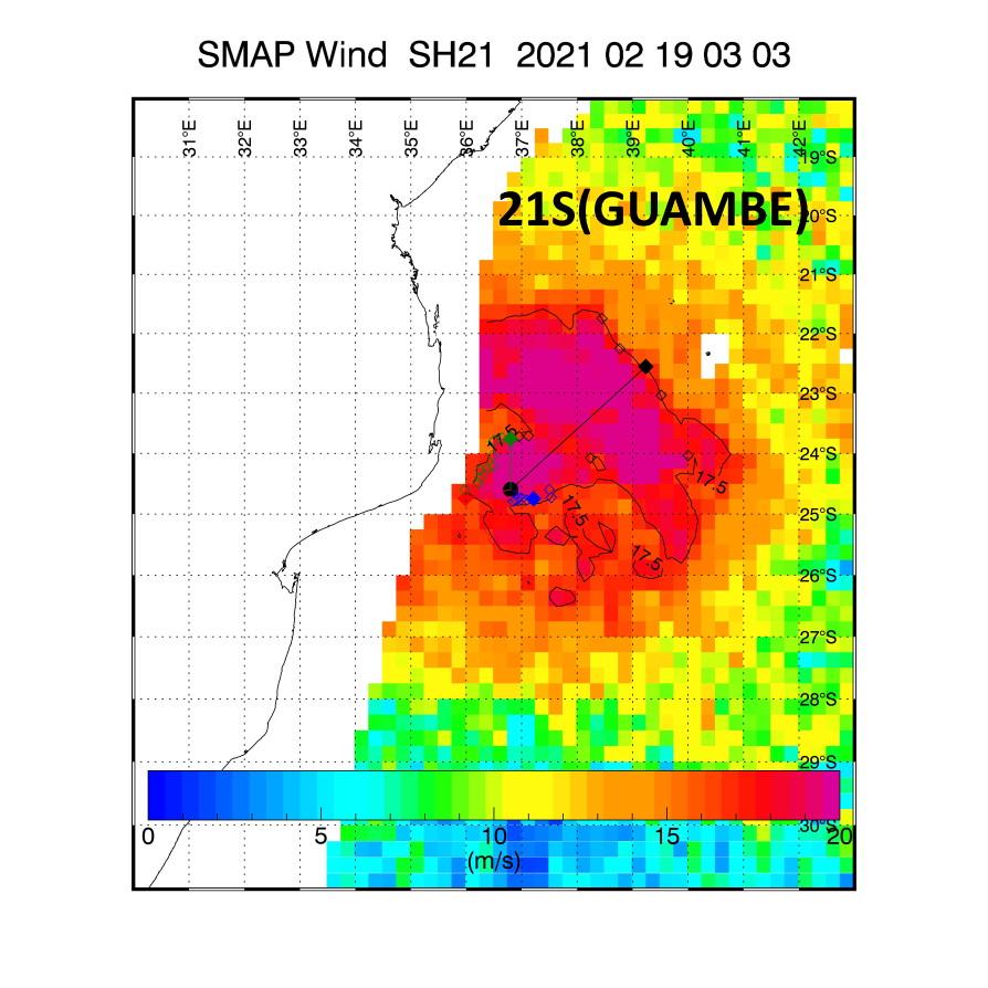 21S(GUAMBE). 19/0333UTC. SMAP READ 48KNOT WINDS( 10 MINUTES).