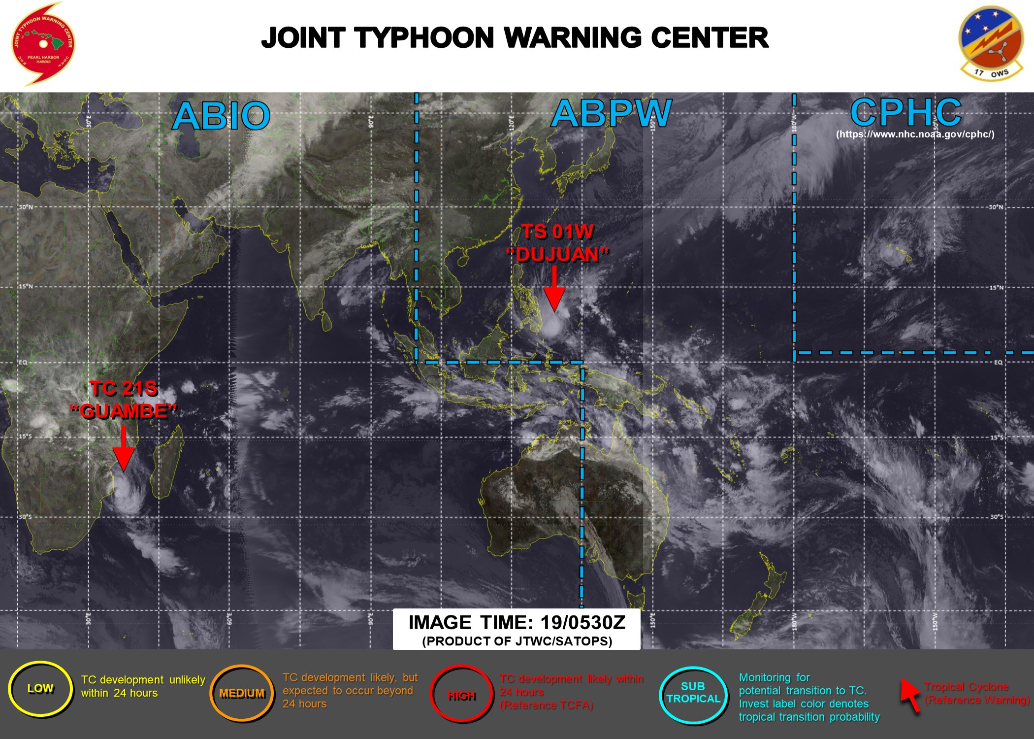 19/06UTC. JTWC IS ISSUING 6HOURLY WARNINGS ON 01W AND 12HOURLY WARNINGS ON 21S. 3 HOURLY SATELLITE BULLETINS ARE ISSUED FOR BOTH SYSTEMS.