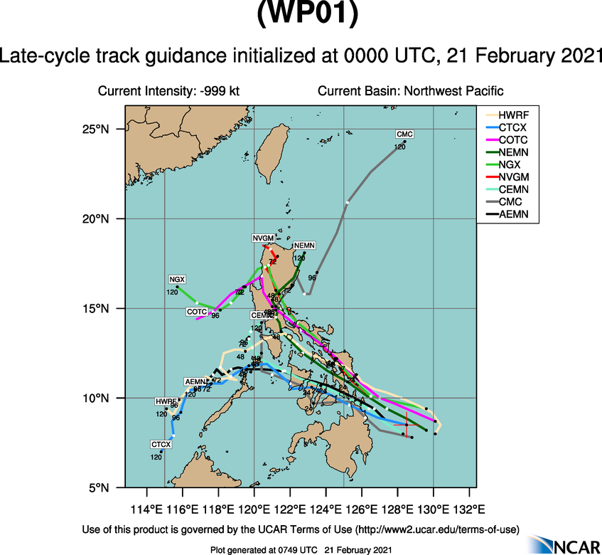 01W(DUJUNA). NUMERICAL MODELS DIVERGE AND  BIFURCATE TO 590KM+ BY 48H WITH NAVGEM, UKMET, AND JGSM OFFERING A  MORE POLEWARD SOLUTION AND THE REMAINDER OF THE MODEL ENVELOPE,  INCLUDING ECMWF AND GFS, OFFERING A MORE EQUATORWARD TRACK. THIS  INDICATES UNCERTAINTY IN THE MODELS TRACKING A WEAK CIRCULATION, LENDING  OVERALL LOW CONFIDENCE IN THE JTWC TRACK FORECAST BEYOND 24H.