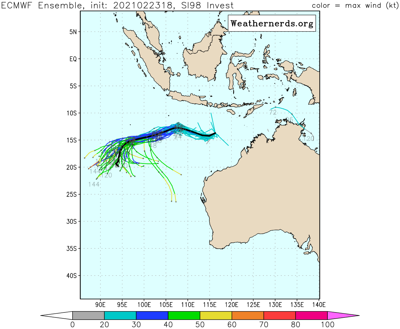 INVEST 98S. RADIAL OUTFLOW, LOW VERTICAL  WIND SHEAR (10-15KTS) AND WARM SEA SURFACE TEMPERATURES (29-30C)  CREATE FAVORABLE CONDITIONS FOR FURTHER DEVELOPMENT. GLOBAL MODELS  INDICATE INVEST 98S WILL TRACK WESTWARD AND INTENSIFY QUICKLY OVER  THE NEXT 36-48 HOURS.