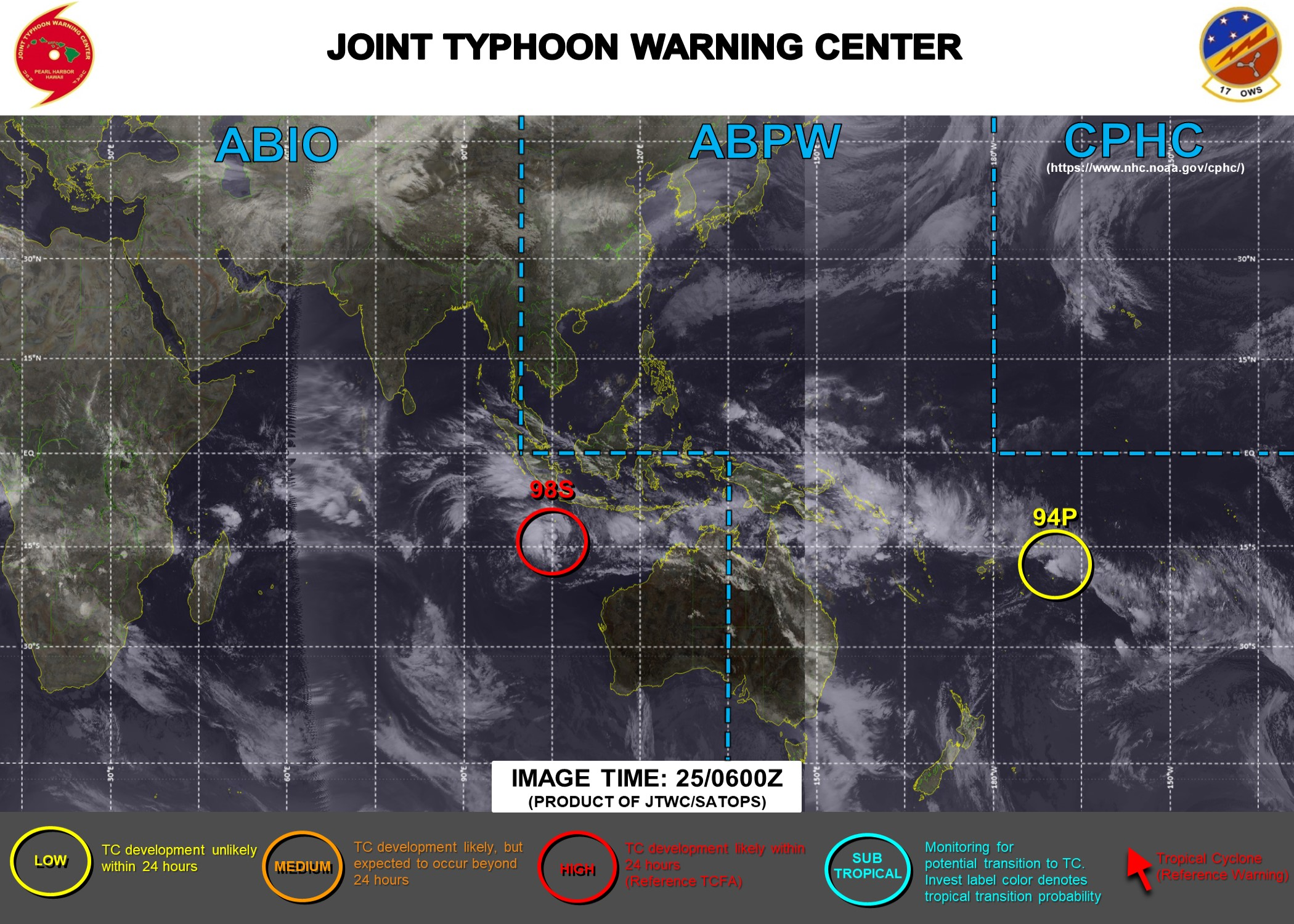 25/06UTC. JTWC HAS UP-GRADED INVEST 98S TO HIGH WHEREAS INVEST 94P REMAINS LOW. 3HOURLY SATELLITE BULLETINS ARE ISSUED FOR 98S.