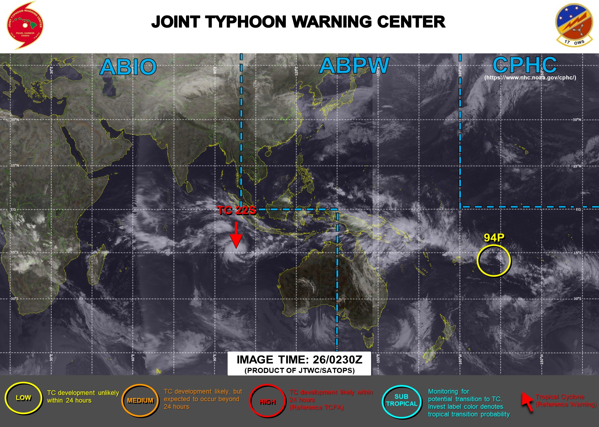 26/03UTC. INVEST 98S IS UP-GRADED TO TC 22S. JTWC IS ISSUING 12HOURLY WARNINGS ON TC 22S AND 3HOURLY SATELLITE BULLETINS. INVEST 94P REMAINS LOW.