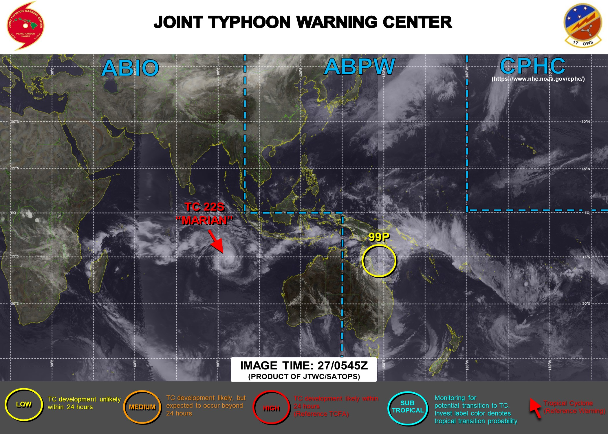 27/12UTC. JTWC IS ISSUING 12HOURLY WARNINGS AND 3 HOURLY SATELLITE BULLETINS ON TC 22S(MARIAN). INVEST 99P REMAINS ON THE MAP AND REMAINS LOW FOR THE NEXT 24HOURS.