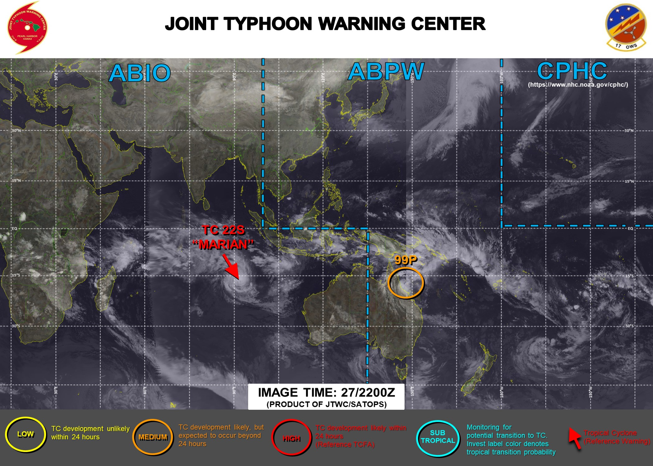 28/03UTC. JTWC HAS BEEN ISSUING 12HOURLY WARNINGS AND 3 HOURLY SATELLITE BULLETINS ON TC 22S(MARIAN). INVEST 99P IS UP-GRADED TO MEDIUM FOR THE NEXT 24HOURS.