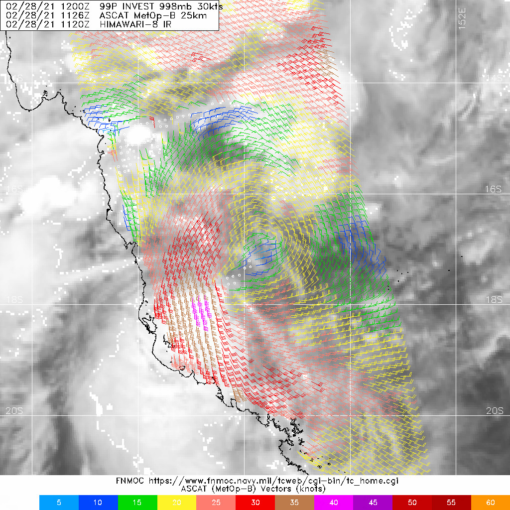 INVEST 99P.28/1126UTC. ASCAT-B IMAGE DEPICTS A WELL  DEFINED LLCC WITH 30-35KT WINDS IN THE SOUTHWEST QUADRANT.
