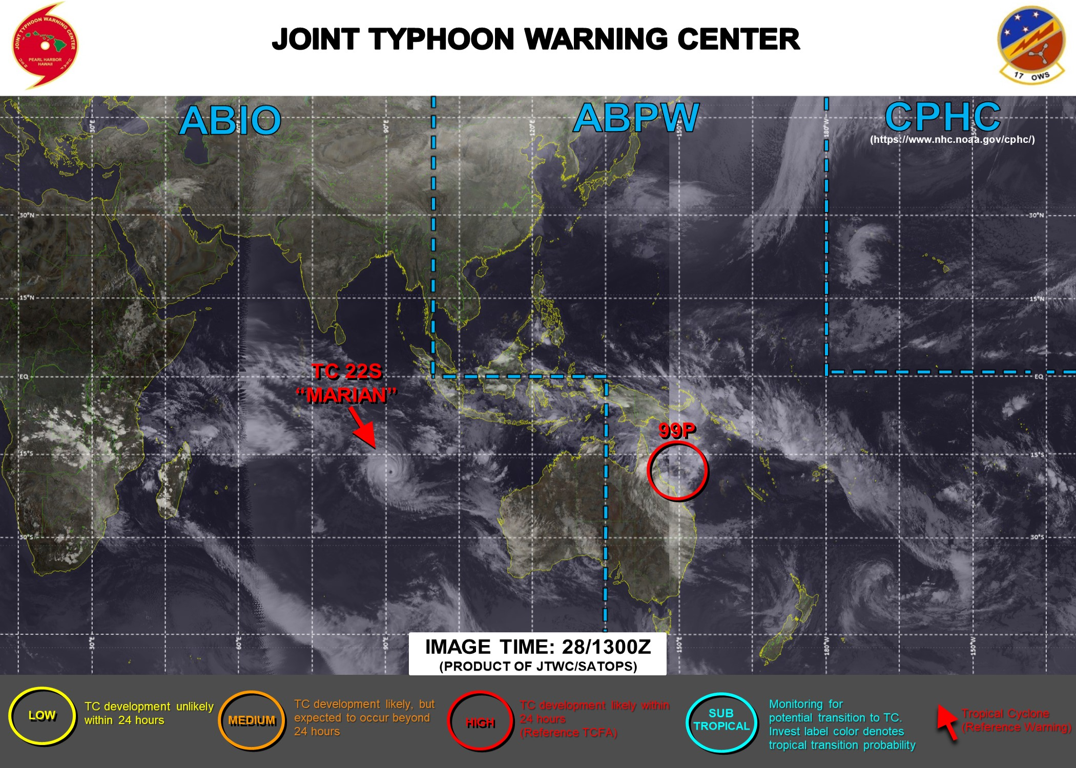 28/15UTC. JTWC HAS BEEN ISSUING 12HOURLY WARNINGS AND 3HOURLY SATELLITE BULLETINS ON TC 22S(MARIAN). INVEST 99P HAS BEEN UP-GRADED TO HIGH FOR THE NEXT 24HOURS.