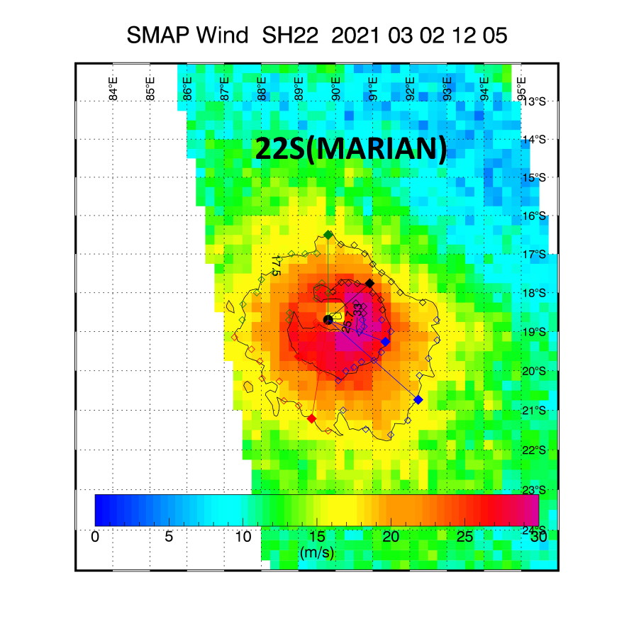 22S(MARIAN). 02/1205UTC. SMAP(NASA) READ 67KNOT WINDS(10 MINUTES). IT SUGGESTS A CURRENT INTENSITY SLIGHTLY LOWER THAN THE 12UTC JTWC ESTIMATE, 75/80KNOTS(1 MINUTE) INSTEAD OF 90KNOTS.