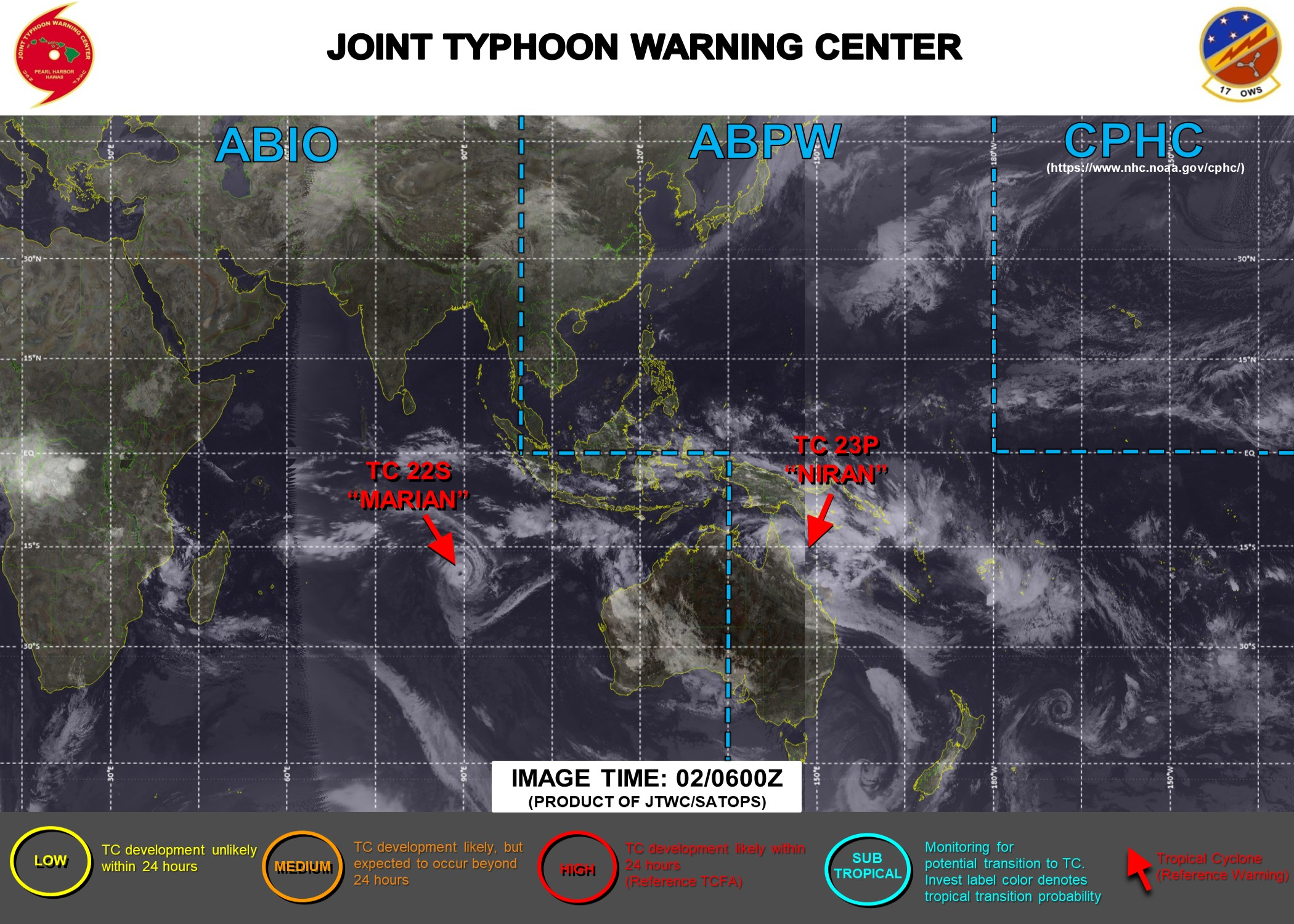 02/15UTC.  JTWC IS ISSUING 3HOURLY WARNING ON TC 23P(NIRAN) AND 12HOURLY WARNINGS ON TC 22S(MARIAN). 3 HOURLY SATELLITE BULLETINS ARE ISSUED FOR BOTH SYSTEMS.