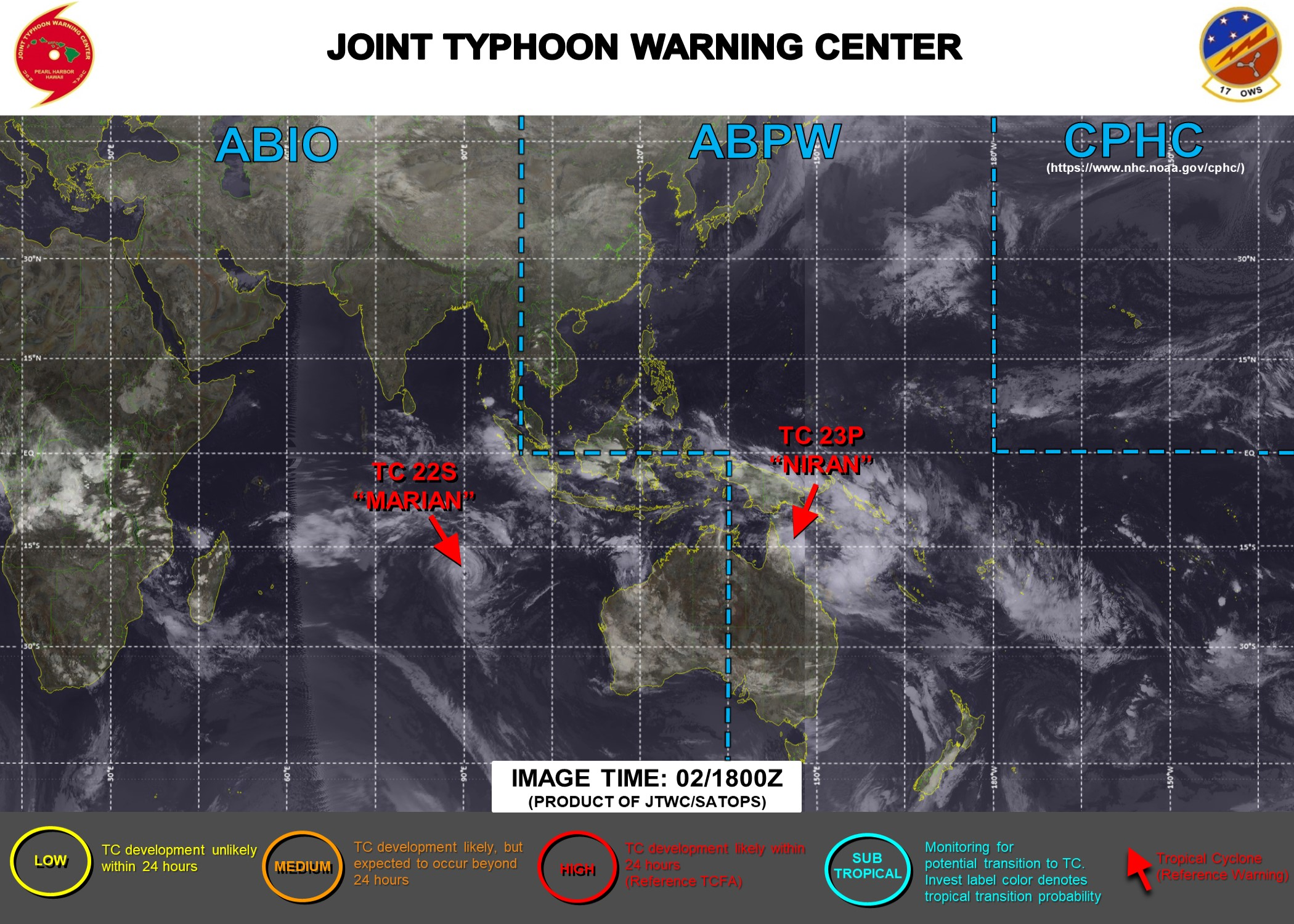 03/03UTC. JTWC IS ISSUING 3HOURLY WARNING ON TC 23P(NIRAN) AND 12HOURLY WARNINGS ON TC 22S(MARIAN). 3 HOURLY SATELLITE BULLETINS ARE ISSUED FOR BOTH SYSTEMS.