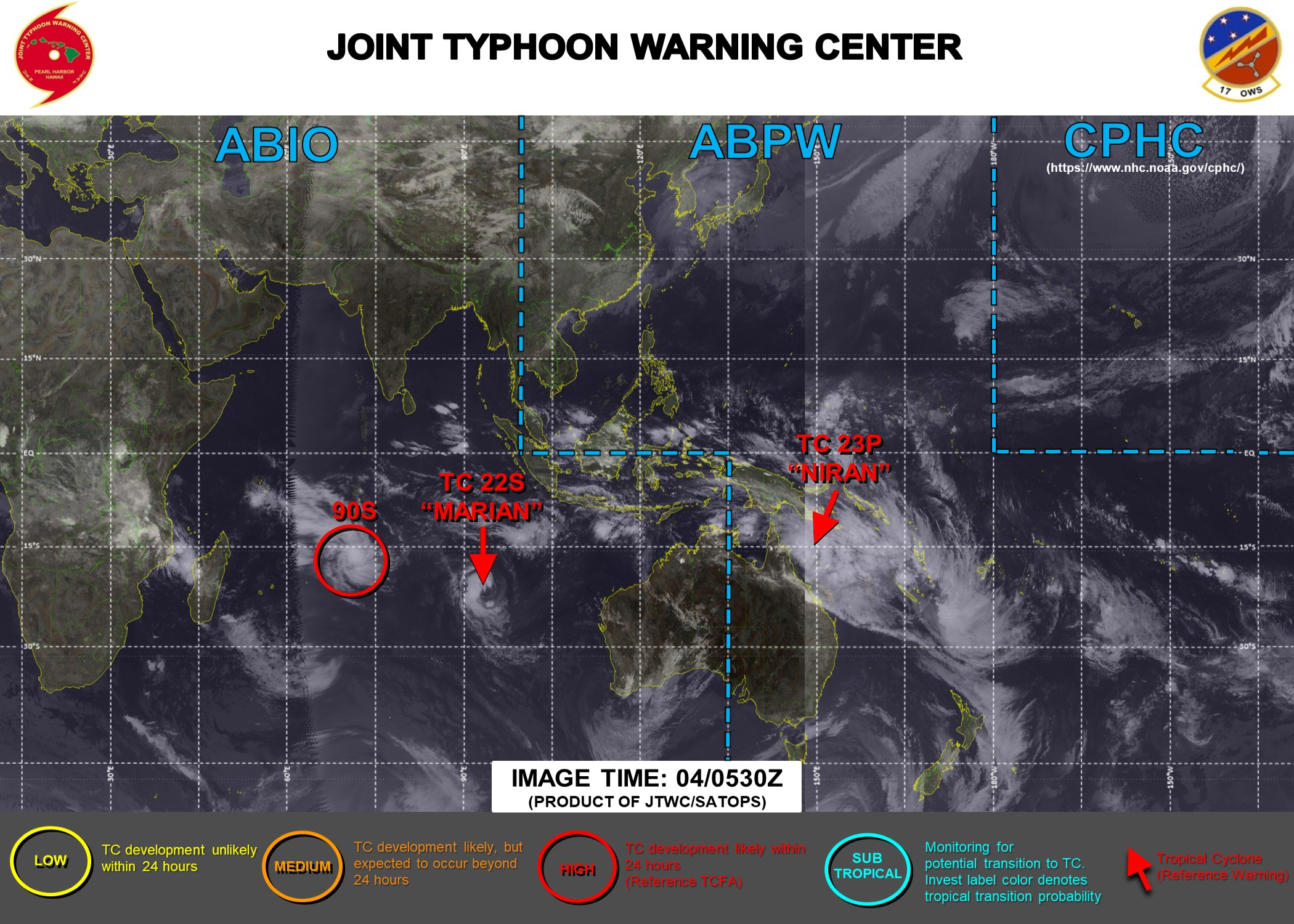 04/06UTC. JTWC HAS BEEN ISSUING 6HOURLY WARNINGS ON 23P(NIRAN) AND 12HOURLY WARNINGS ON 22S(MARIAN). 3 HOURLY SATELLITE BULLETINS ARE ISSUED FOR BOTH SYSTEMS. INVEST 90S IS NOW LIKELY TO  REACH35KNOTS WITHIN 24HOURS. JTWC HAS BEGUN ISSUING 3 HOURLY SATELLITE BULLETINS FOR 90S AT 04/06UTC.