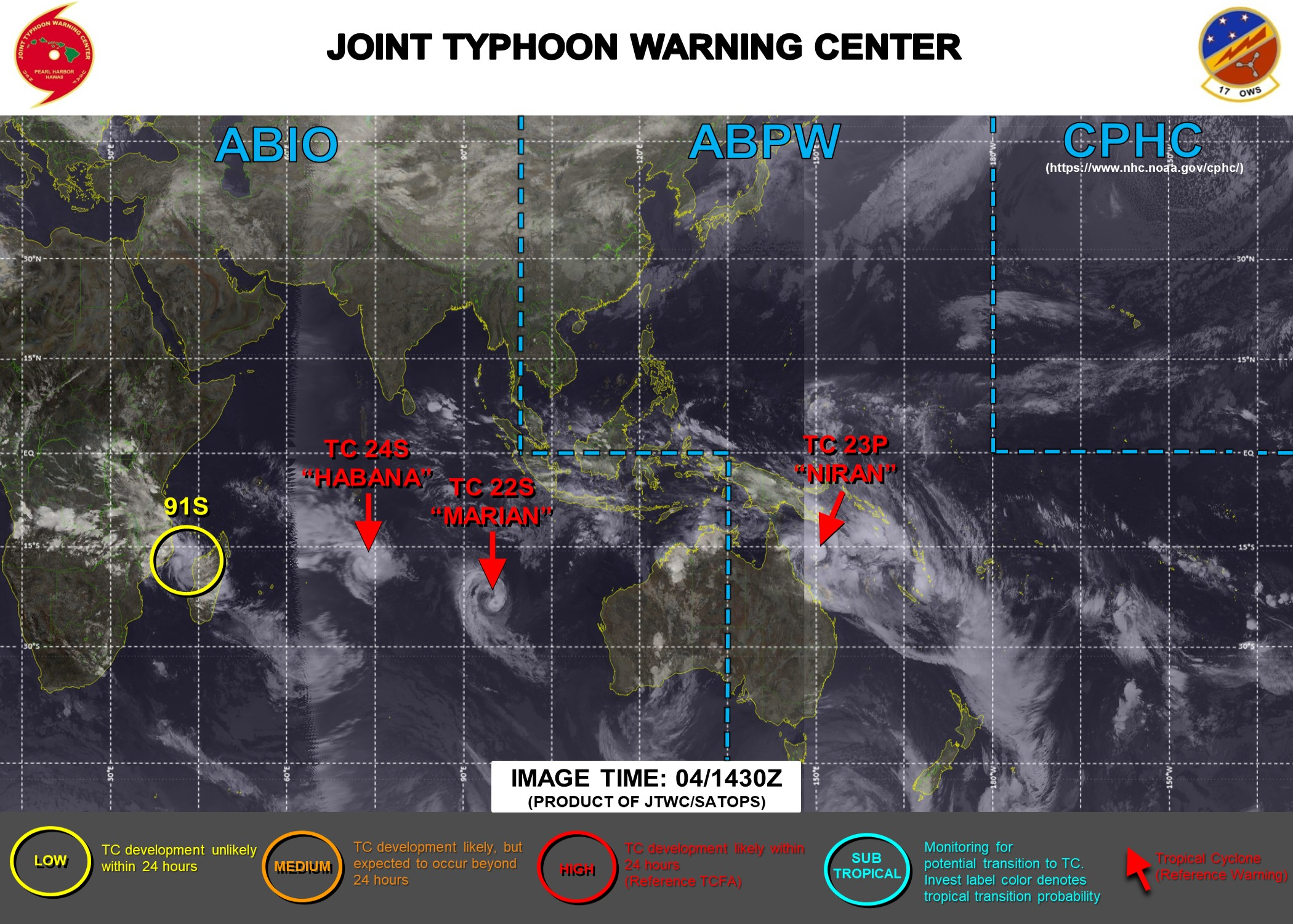 04/15UTC. THE JTWC IS ISSUING 6HOURLY WARNINGS ON 23P(NIRAN) AND 12HOURLY WARNINGS ON 22S(MARIAN) AND 24S(HABANA). 3 HOURLY SATELLITE BULLETINS ARE ISSUED FOR THE 3 SYSTEMS. INVEST 91S IS NOW ON THE MAP ASSESSED AS CURRENTLY HAVING LOW CHANCES OF REACHING 35KNOTS WITHIN THE NEXT 24HOURS.