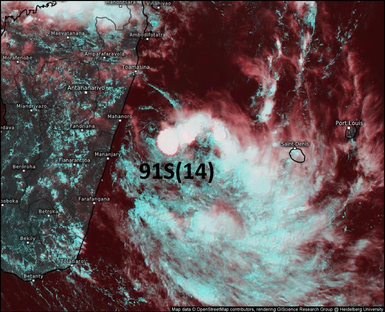Image Météosat-8 de 14heures ce samedi. La zone active( nuages actifs en blanc avec des sommets très froids( -88°Celsius pour les plus actifs) se développe à l'Ouest Nord-Ouest de la RÉUNION. Eumetsat.PH.