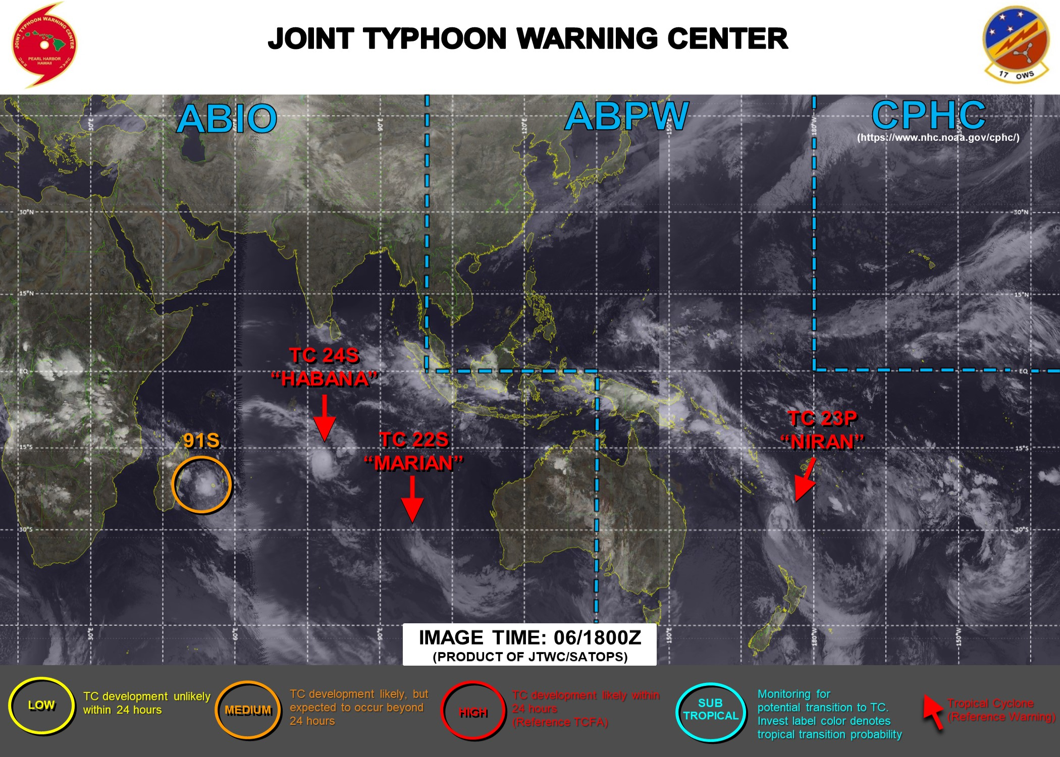 06/18UTC. JTWC HAS BEEN ISSUING 6HOURLY WARNINGS ON 23P(NIRAN) AND 12HOURLY WARNINGS ON 24S(HABANA). WARNING 17/FINAL WAS ISSUED AT 06/09UTC FOR 22S(MARIAN). INVEST 91S IS NOW ASSESSED AS HAVING MEDIUM CHANCES OF REACHING 35KNOTS WITHIN 24HOURS. 3 HOURLY SATELLITE BULLETINS ARE ISSUED FOR THE 4 SYSTEMS.