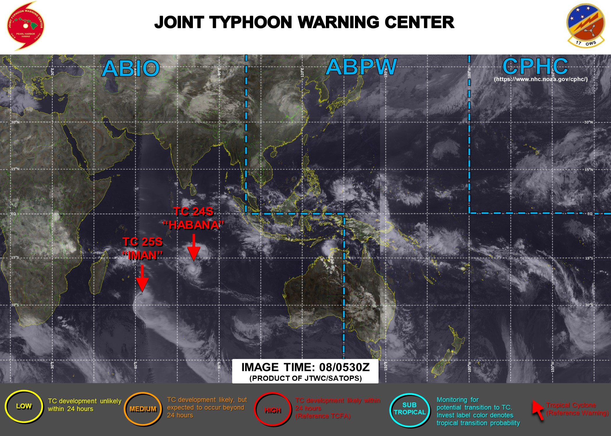 08/09UTC. JTWC IS ISSUING 12HOURLY WARNINGS ON 24S(HABANA). WARNING 3/FINAL WAS ISSUED ON 25S(IMAN). 3 HOURLY SATELLITE BULLETINS ARE ISSUED FOR BOTH SYSTEMS.
