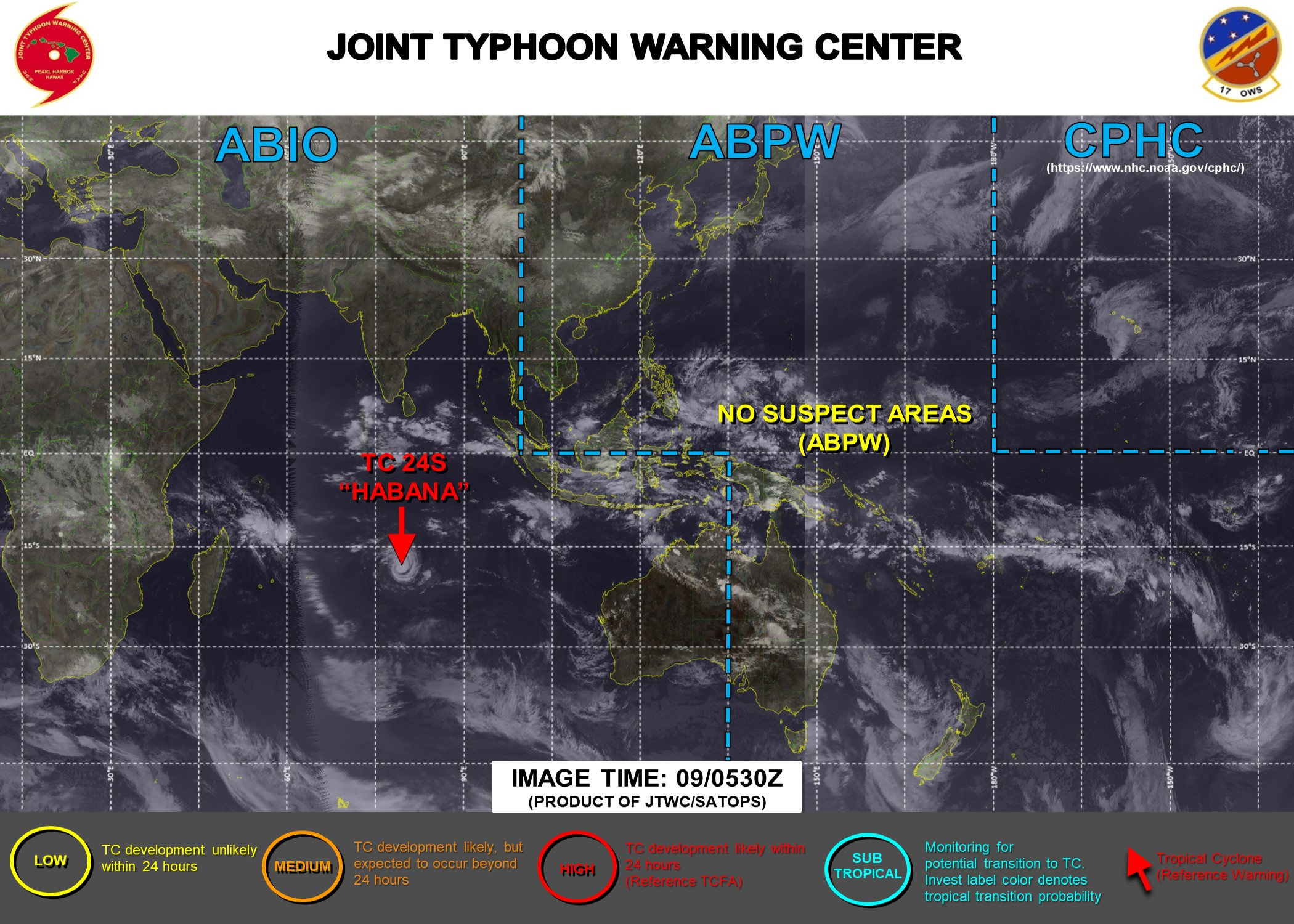 09/09UTC. JTWC IS ISSUING 12HOURLY WARNINGS ON 24S(HABANA) ALONG WITH 3HOURLY SATELLITE BULLETINS. 25S(IMAN) IS DISSIPATED AND WAS REMOVED FROM THE MAP WITH THE SATELLITE BULLETINS DISCONTINUED AT 09/0515UTC.