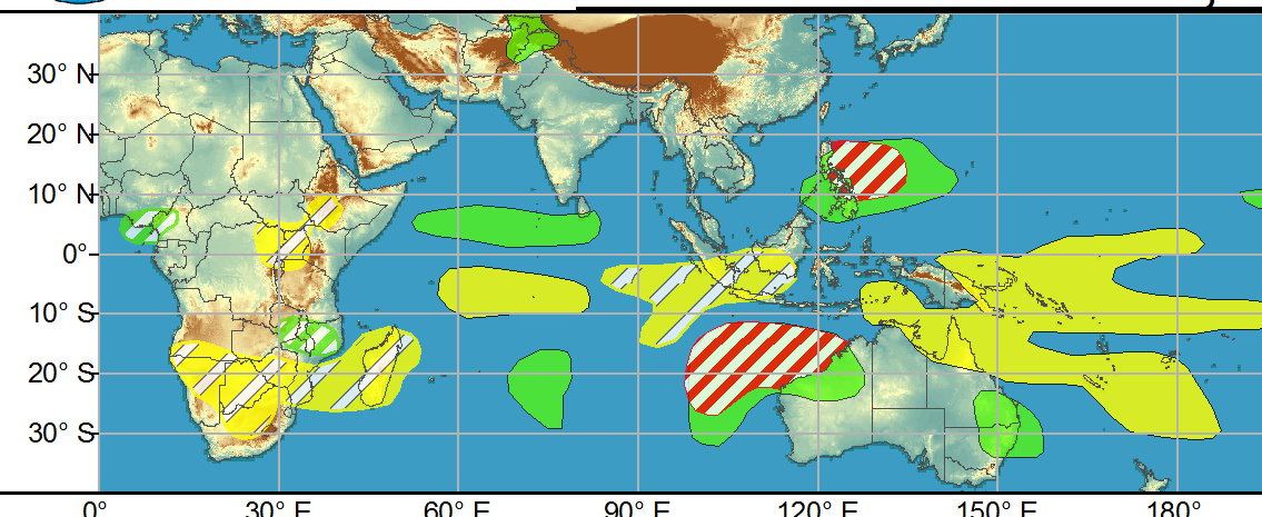 WEEK 1: As predicted in last week's outlook, two tropical cyclones developed over the South Indian Ocean during the past week. Cyclone Habana formed over the south-central Indian Ocean and strengthened to major hurricane intensity (125kt peak sustained winds) as it tracked generally eastward over the open ocean. Over the past few days, the cyclone has turned southward and westward, and forecasts from the JTWC show the system regaining major hurricane intensity as it tracks westward just south of its prior track. Ultimately the cyclone is forecast to recurve to the south well east of Mauritius and La Reunion. Tropical Storm Iman formed to the west of Cyclone Habana's location, and is currently weakening as it recurves southward. During Week-1, additional tropical cyclogenesis is possible over the eastern portion of the Indian Ocean basin, with two regions exhibiting a moderate potential for development. Formation northwest of Australia in the vicinity of 100-110E is possible, with dynamical model track forecasts bringing this potential system generally southward, with a potential for impacts to Western Australia.