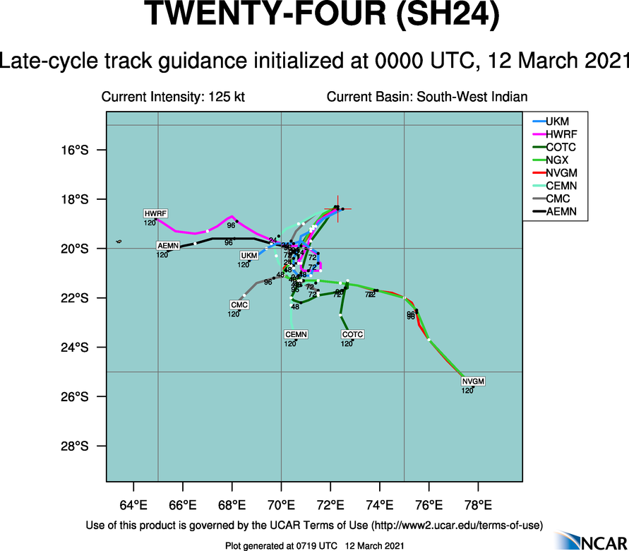 24S(HABANA). THE MAJORITY OF THE NUMERICAL MODELS ARE IN GENERAL AGREEMENT WITH THIS  FORECAST TRACK PHILOSOPHY, ALBEIT WITH SIGNIFICANT ALONG- AND ACROSS- TRACK DIFFERENCES. NAVGEM IS THE SOLE OUTLIER OFFERING A CONTINUOUS  SOUTHEASTWARD TRACK WITH NO QS DELAY IN THE COL. IN VIEW OF THESE,  THERE IS HIGH CONFIDENCE IN THE JTWC TRACK FORECAST, LAID SLIGHTLY  NORTH OF THE MODEL CONSENSUS TO OFFSET NAVGEM, UP TO 24H ONLY;  AFTERWARD, THE CONFIDENCE IS LOW.