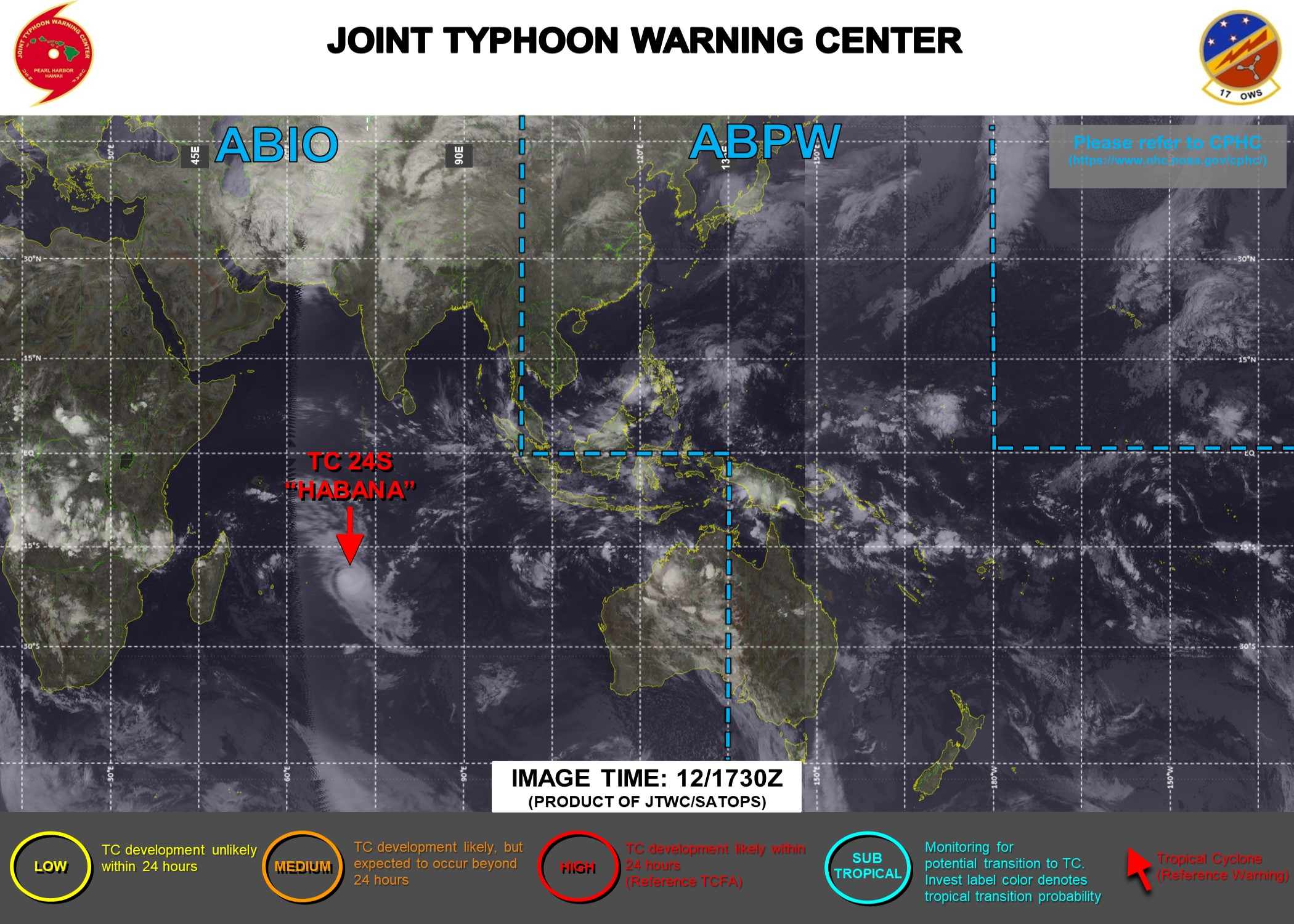 13/00UTC. JTWC HAS BEEN ISSUING 12HOURLY WARNINGS ON TC 24S(HABANA) ALONG WITH 3HOURLY SATELLITE BULLETINS.