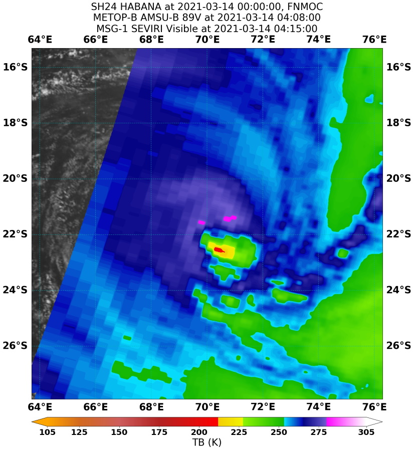24S(HABANA). 14/0408UTC. MICROWAVE  IMAGE REVEALS AN EXPOSED LOW-LEVEL CIRCULATION WITH LIMITED  CONVECTIVE BANDING OVER THE SOUTH TO SOUTHEAST QUADRANTS, WHICH  REFLECTS THE RAPID DECAY OF THE CORE CONVECTION OVER THE PAST 12  HOURS.
