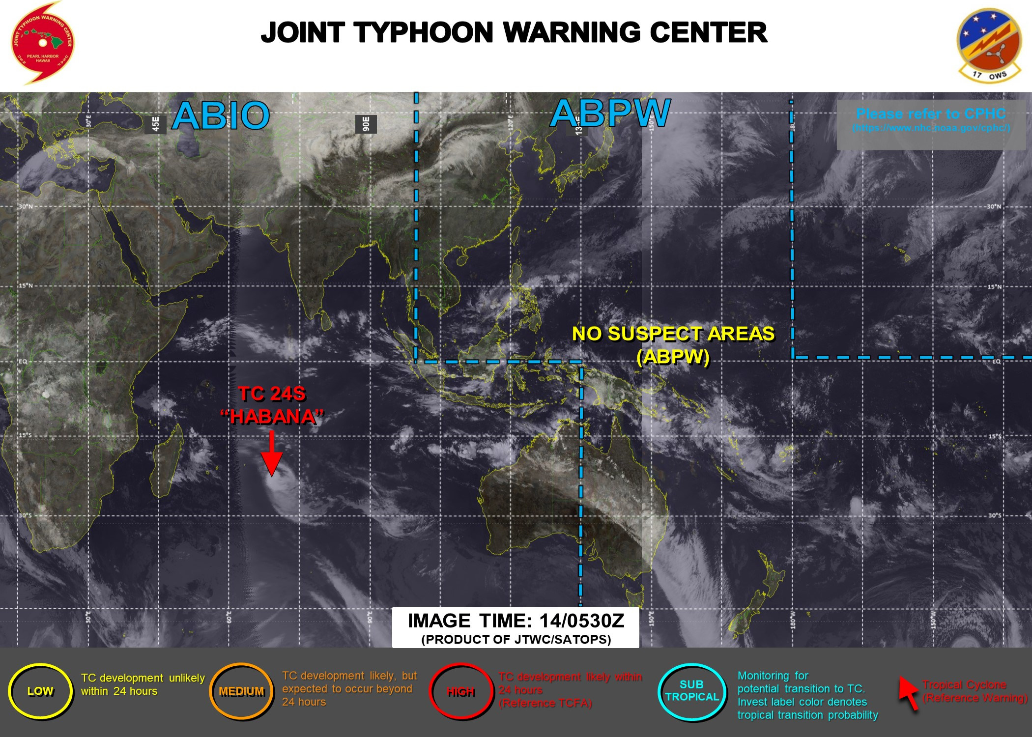 14/09UTC. JTWC HAS BEEN ISSUING 12HOURLY WARNINGS ON TC 24S(HABANA) ALONG WITH 3 HOURLY SATELLITE BULLETINS.